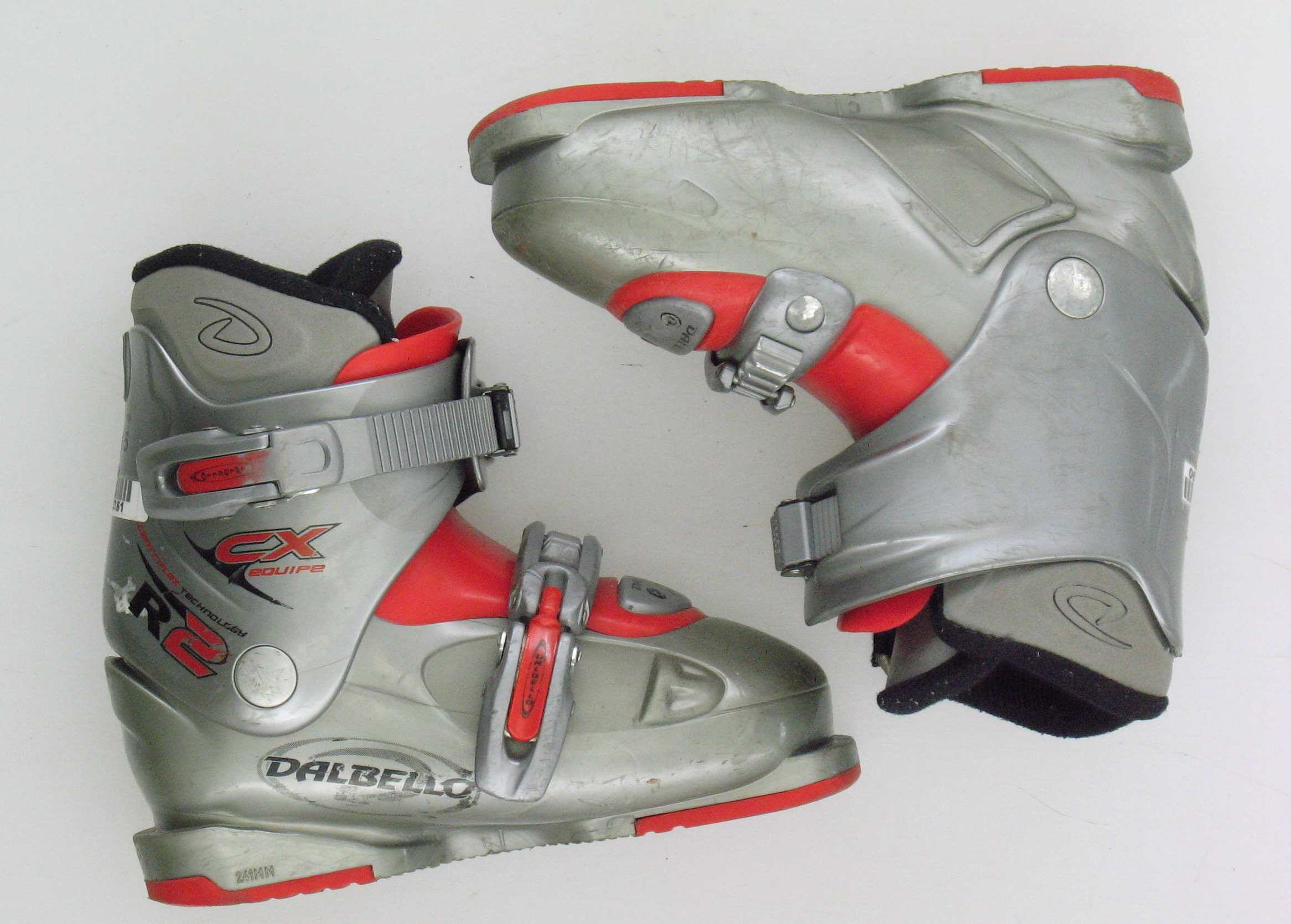 Dalbello Used Cx Equipe R2 Gray Red Ski Boots Cuff Wear