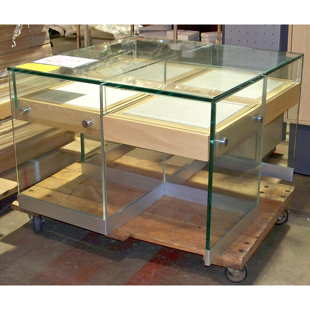 Glass Table Sliding Drawers Store Retail Display Jewelry