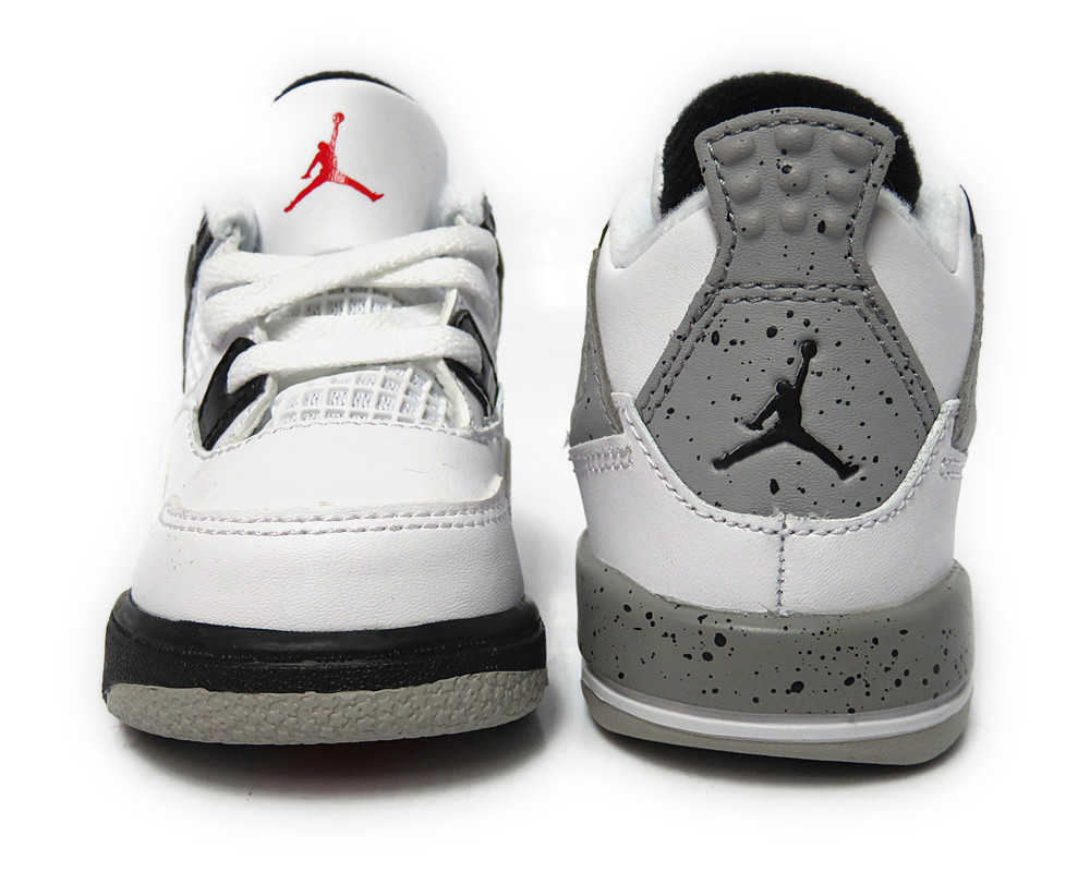 308500 104 Jordan 4 Retro White Red Black Silver Toddler