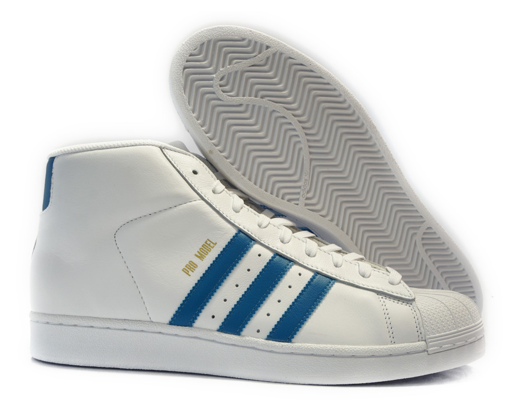 [CQ0627] ADIDAS ORIGINALS PRO MODEL WHITE BLUE MEN SNEAKERS Sz 11.5