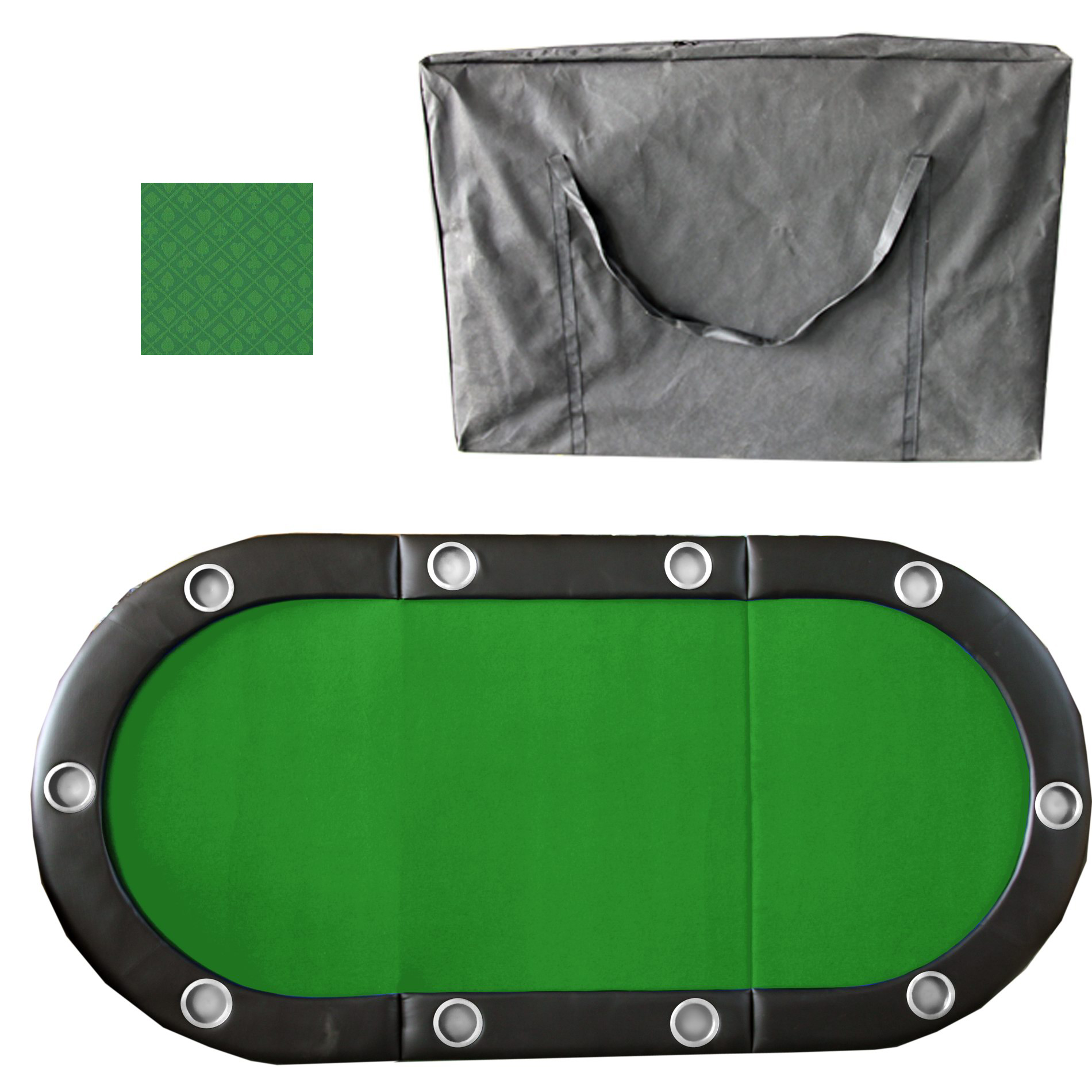 Blue 84 Inch 10 Player Tri-Fold Poker Table Top w// Speed Cloth /& Carrying Case