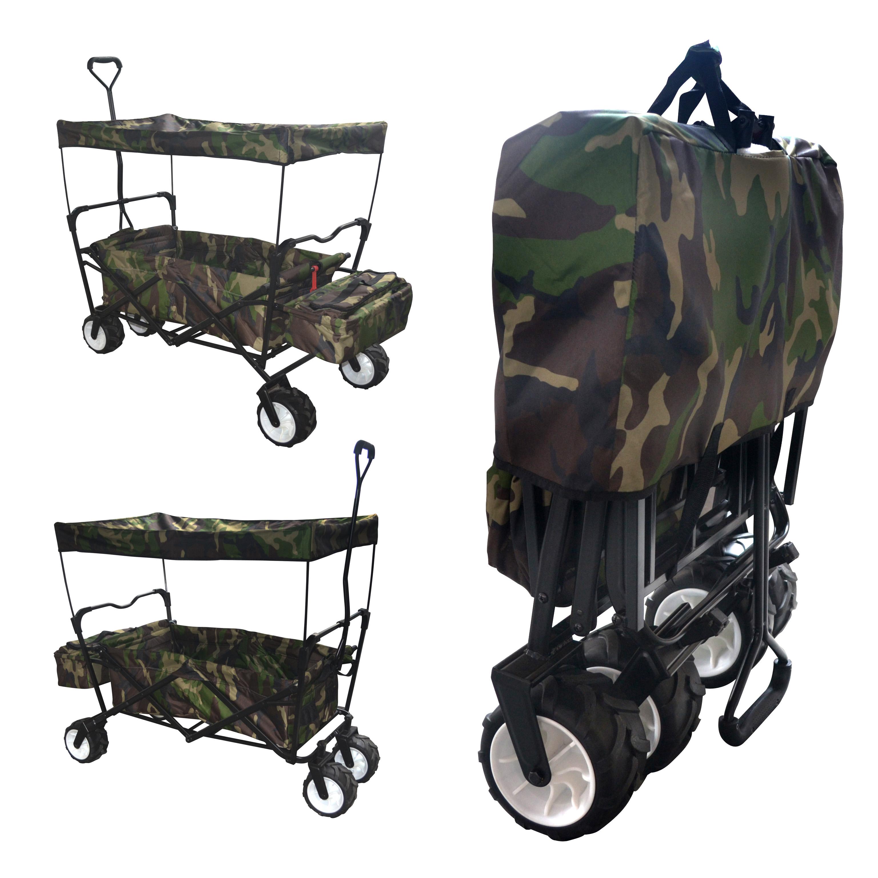 Camo Outdoor Folding Wagon Canopy Garden Utility Travel