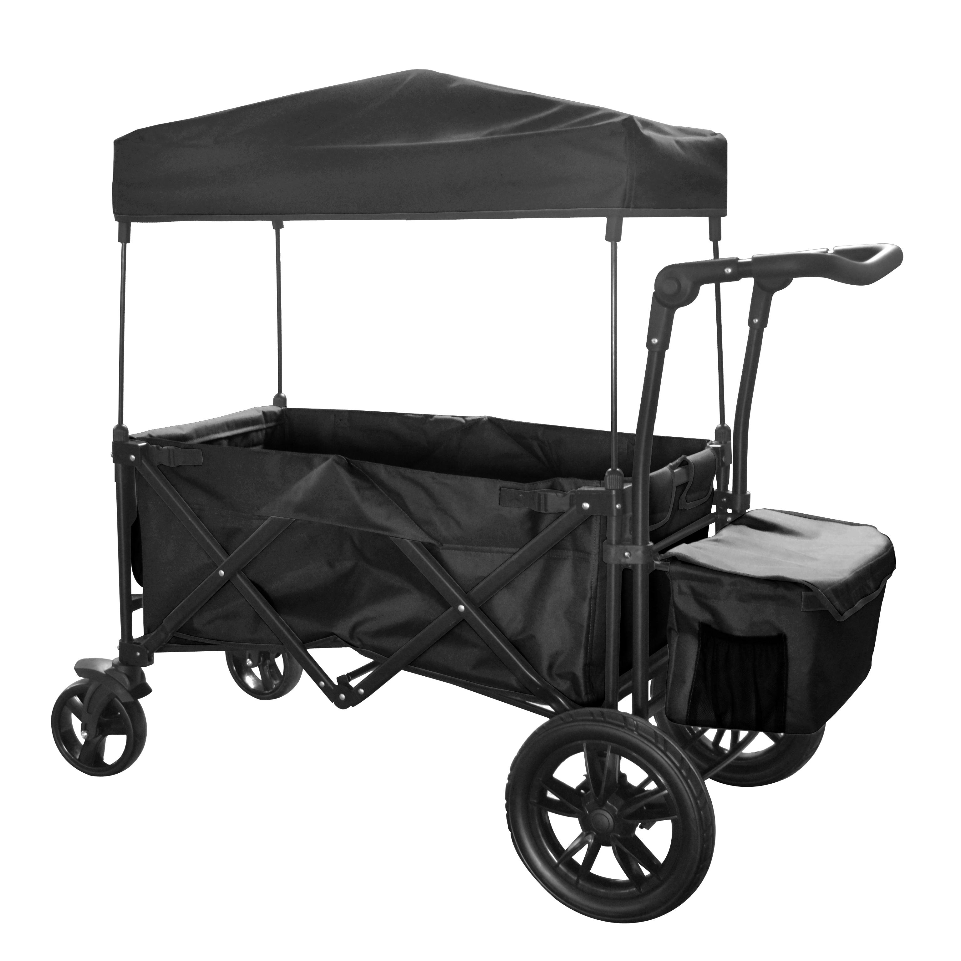 black outdoor folding push wagon canopy garden utility travel cart tires brake ebay. Black Bedroom Furniture Sets. Home Design Ideas