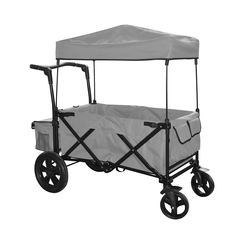 grey outdoor folding push wagon canopy garden utility travel cart tires brake ebay. Black Bedroom Furniture Sets. Home Design Ideas