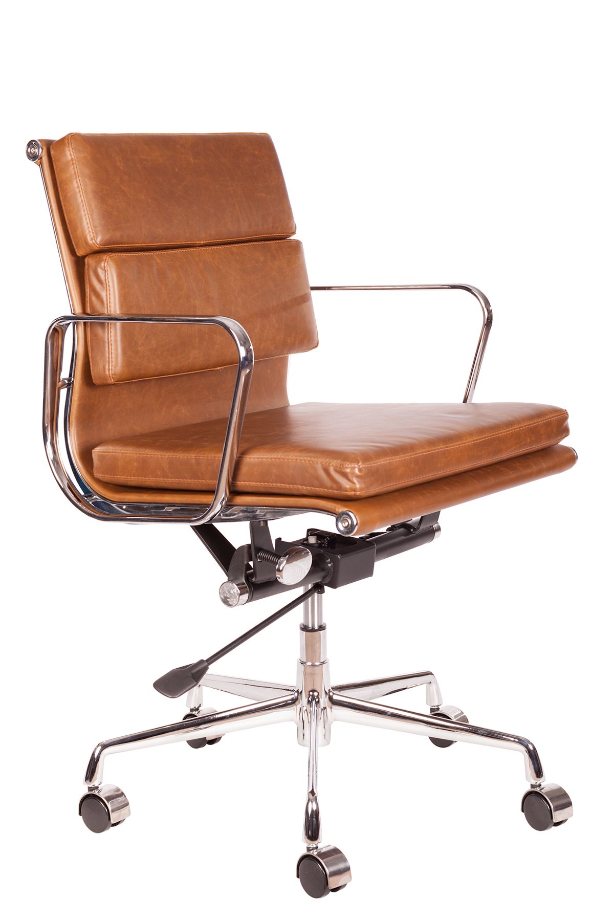 Details About Vintage Brown Leather Soft Pad Office Desk Chair Swivel Aluminium Frame Low Back