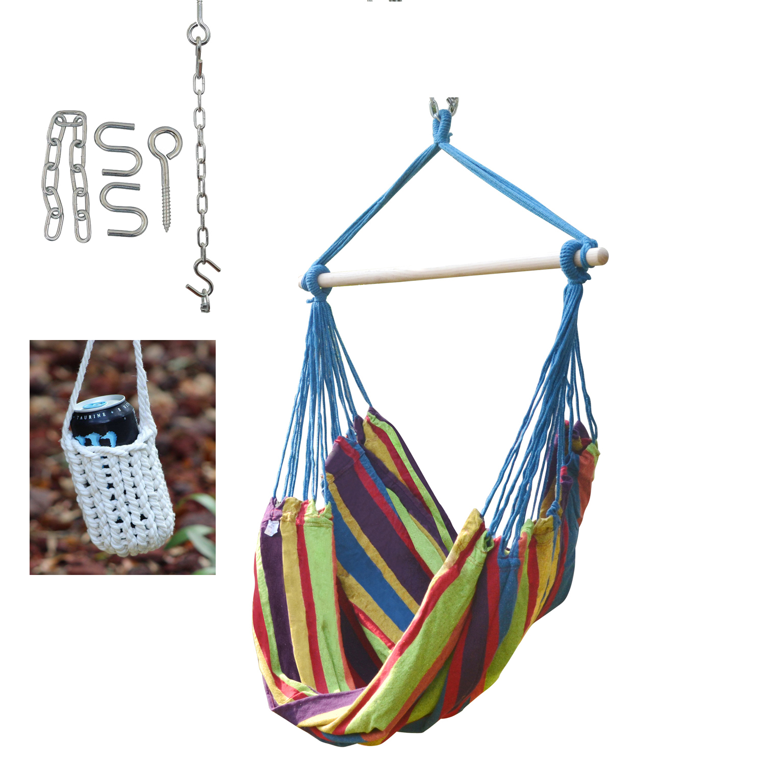 Brazilian Hammock Swing Chair With Hanging Hardware and