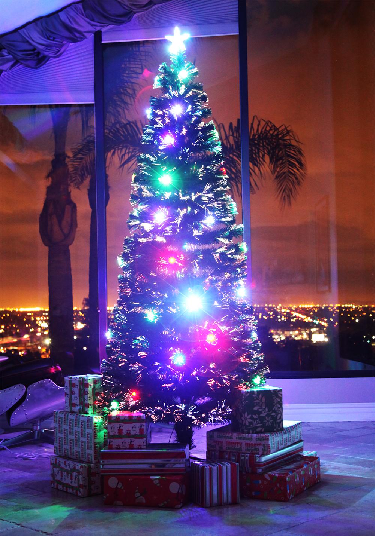 7.5 FT PRE-LIT MULTI COLOR LED & FIBER OPTIC CHRISTMAS ...