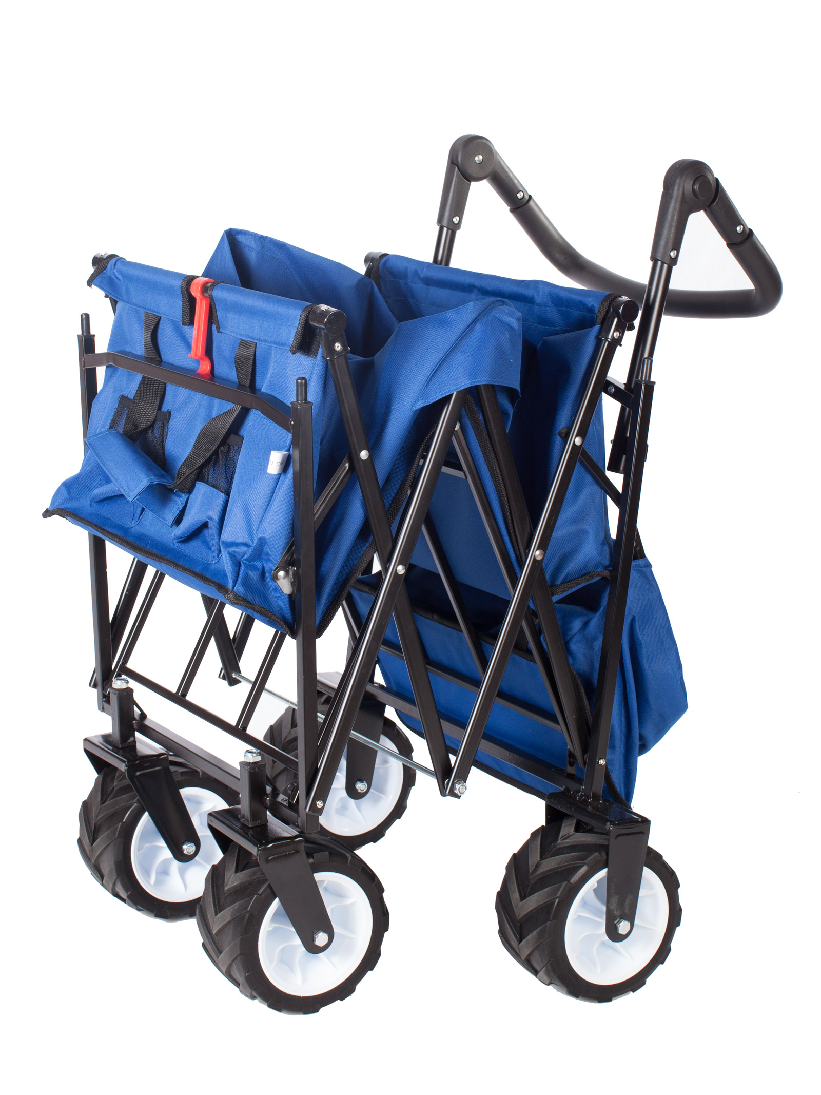blue outdoor push folding wagon canopy garden utility travel cart all terrain ebay. Black Bedroom Furniture Sets. Home Design Ideas