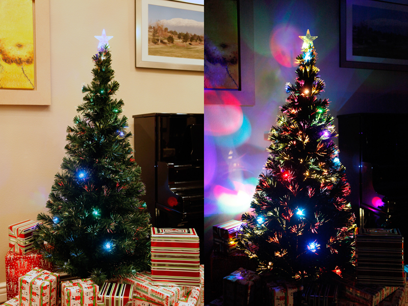 6 Ft Pre Lit Multi Color Led Fiber Optic Christmas Tree Bright