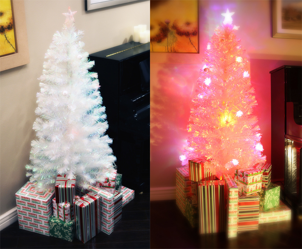 6.5 FT PRE-LIT MULTI COLOR LED FIBER OPTIC CHRISTMAS TREE
