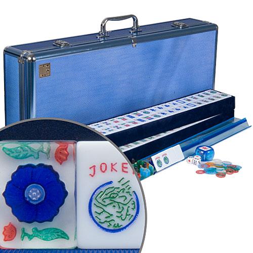 American Large Tile Mah Jongg Mahjong Set Blue Flower Ebay