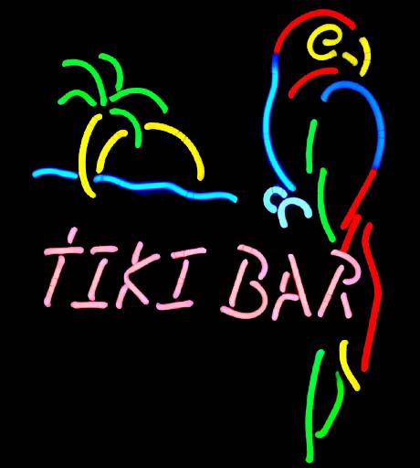 TIKI BAR PARROT PALM TREE NEON LIGHT BEER BAR SIGN 048