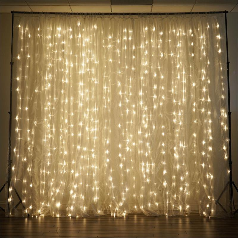 20 Ft X 10 Ft Led Lights Organza Backdrop For Weddings