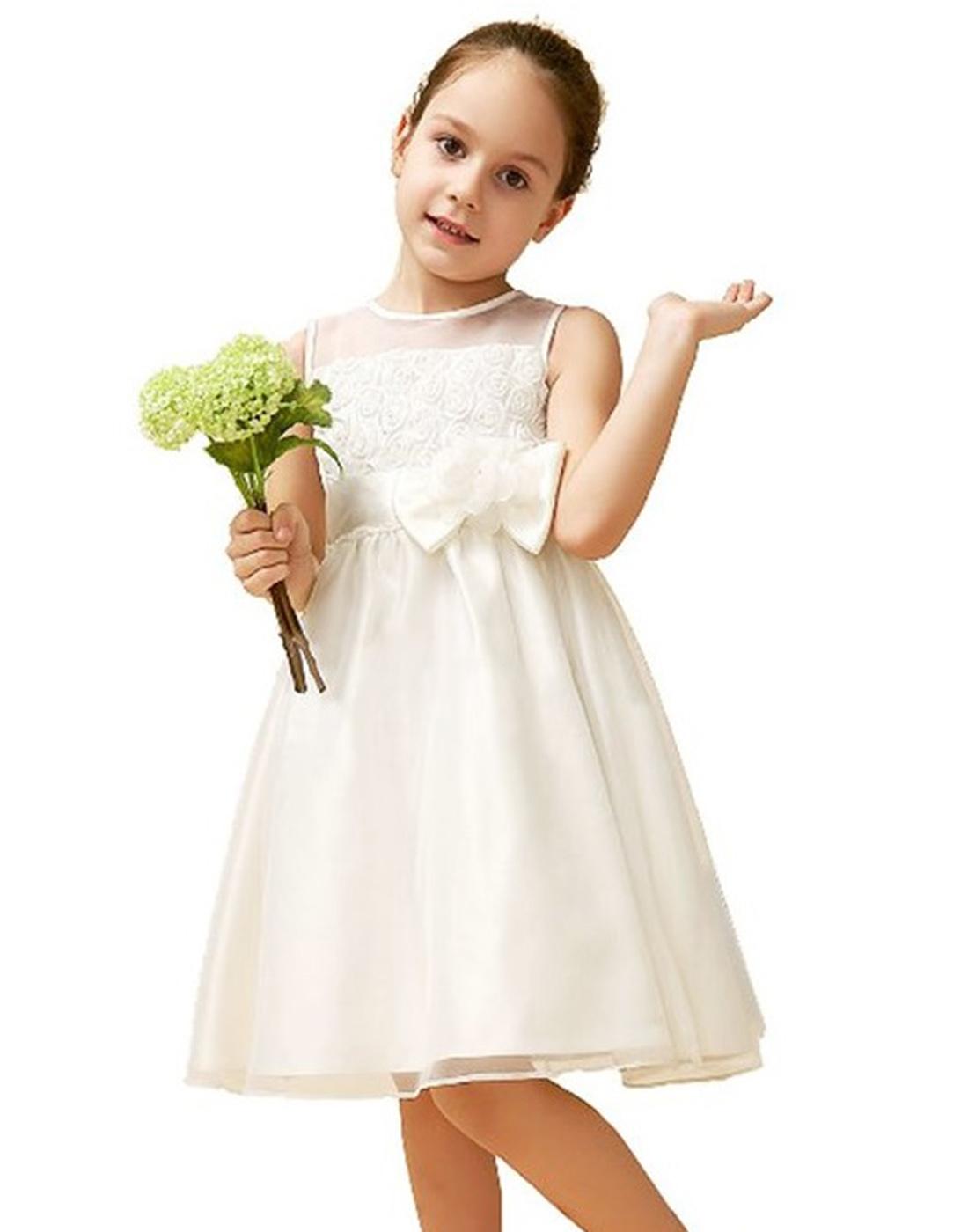 Eye Catching White Net And Silk Tulle Flower Girl Dress Party Dress