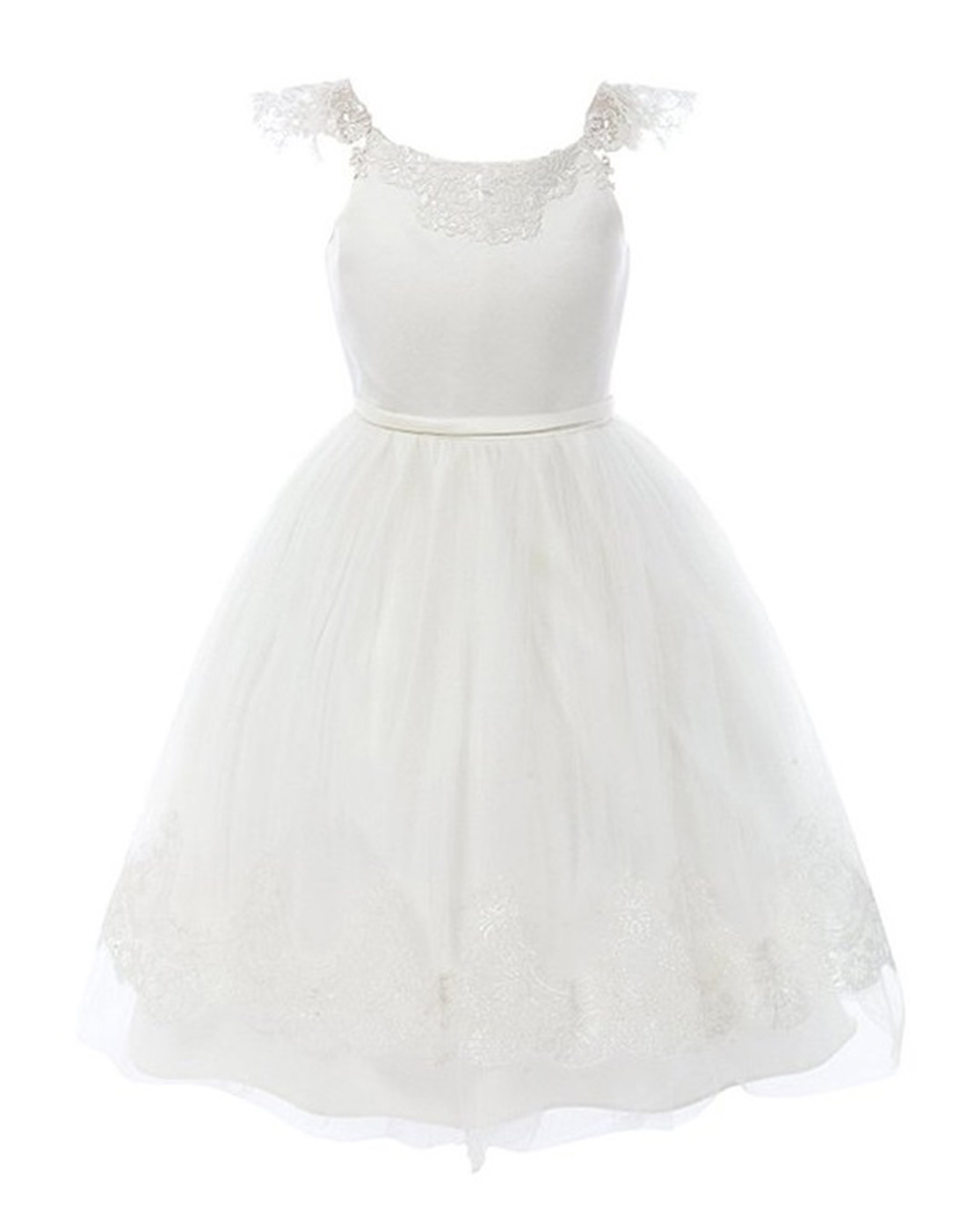 White Embroidered Lace And Mesh Tulle Flower Girl Dress Party Dress