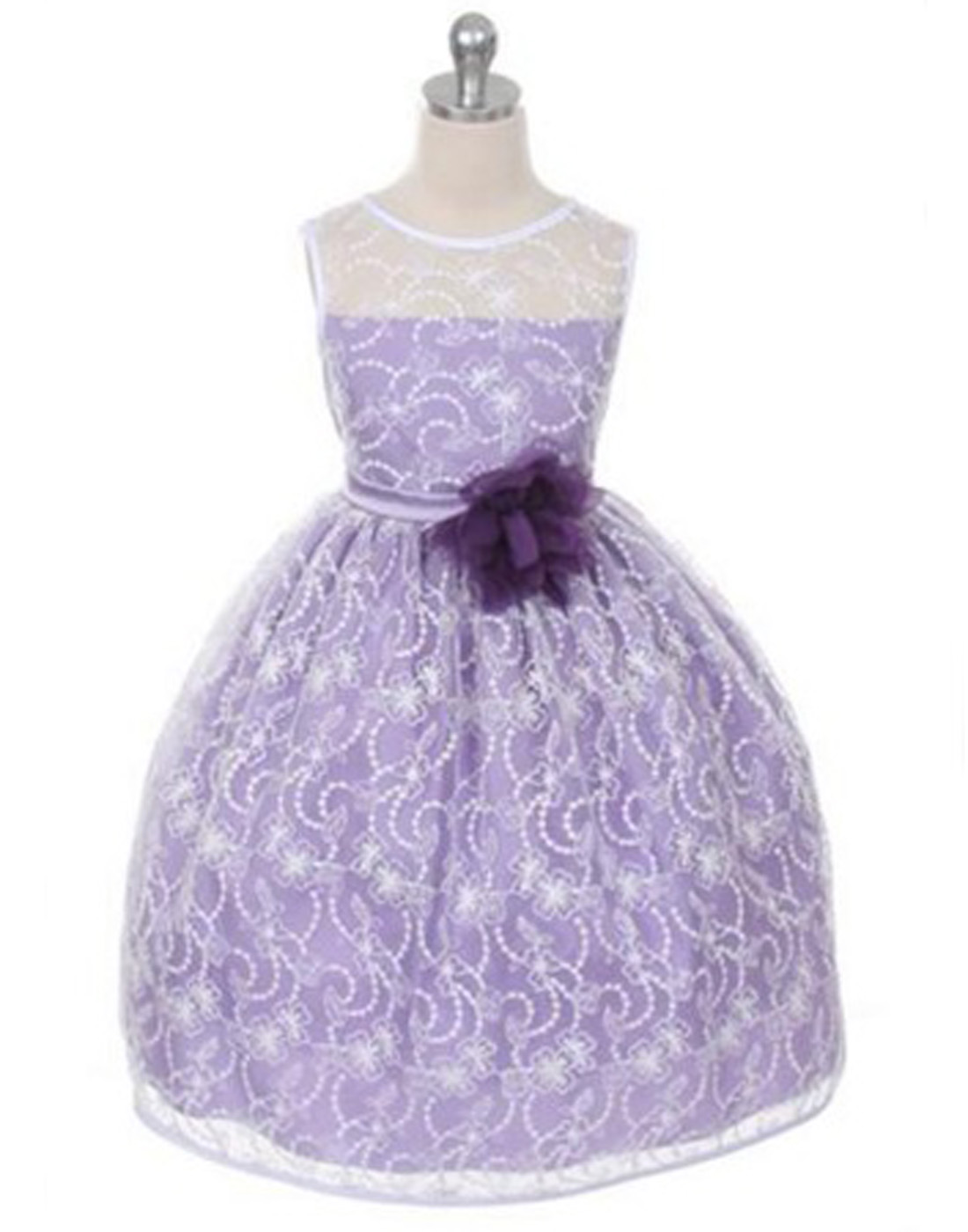 Satin Lining And Floral Overlay Lace Flower Girl Dress Ebay