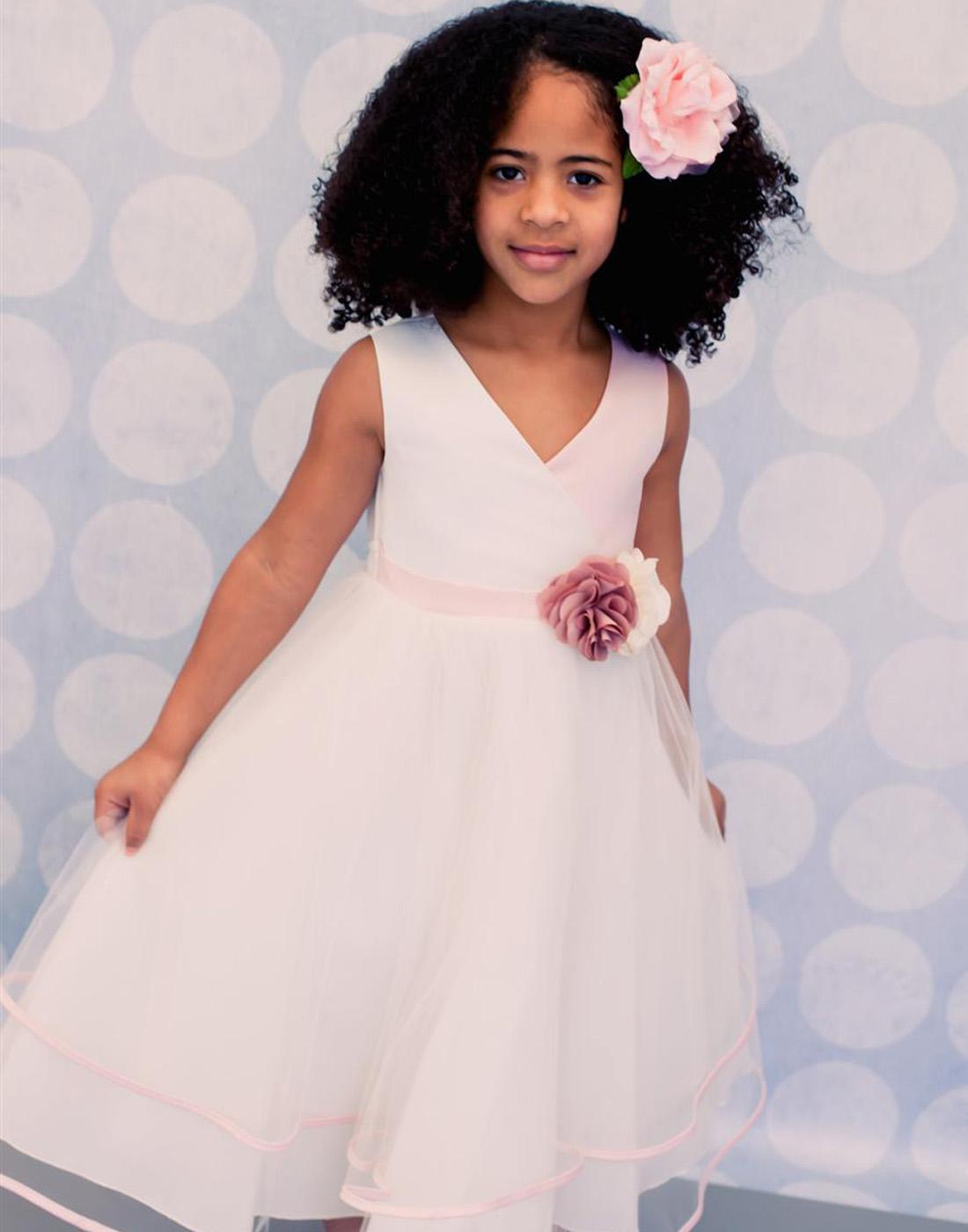 Flower-Girl-Dress-V-neck-Satin-Bodice-and-Tulle-Girls-Dress-Party-Dress thumbnail 4