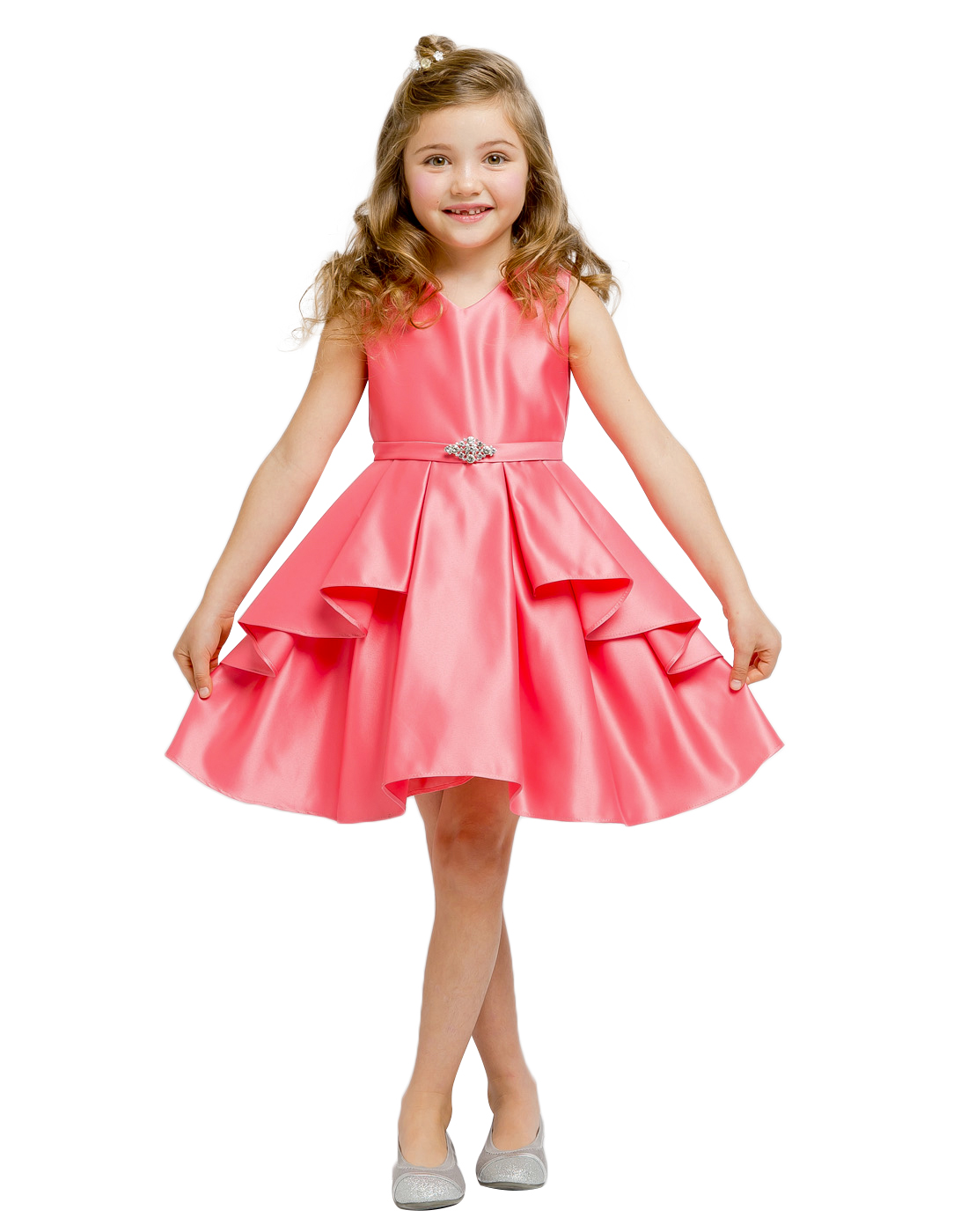 Flower Girl Dress Lustrous Satin Layered Dress a ...