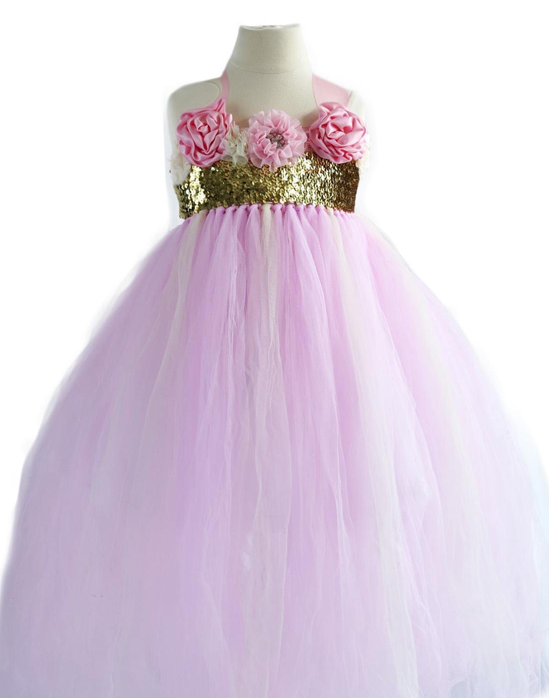 Shimmering Gold And Pink Blossomy Tulle Flower Girl Dress Wedding