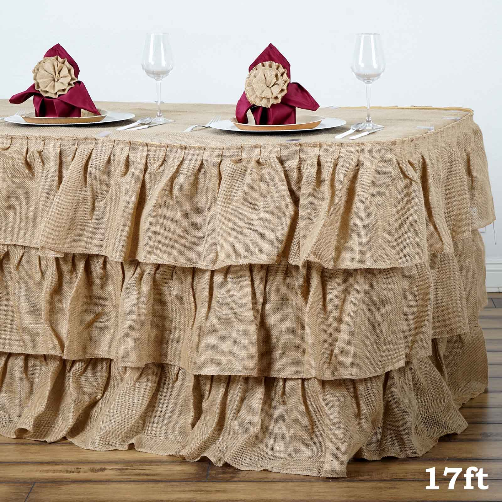 Details About 3 Tier Rustic Elegant Ruffled Burlap Table Skirt Table Covers For Wedding Decor