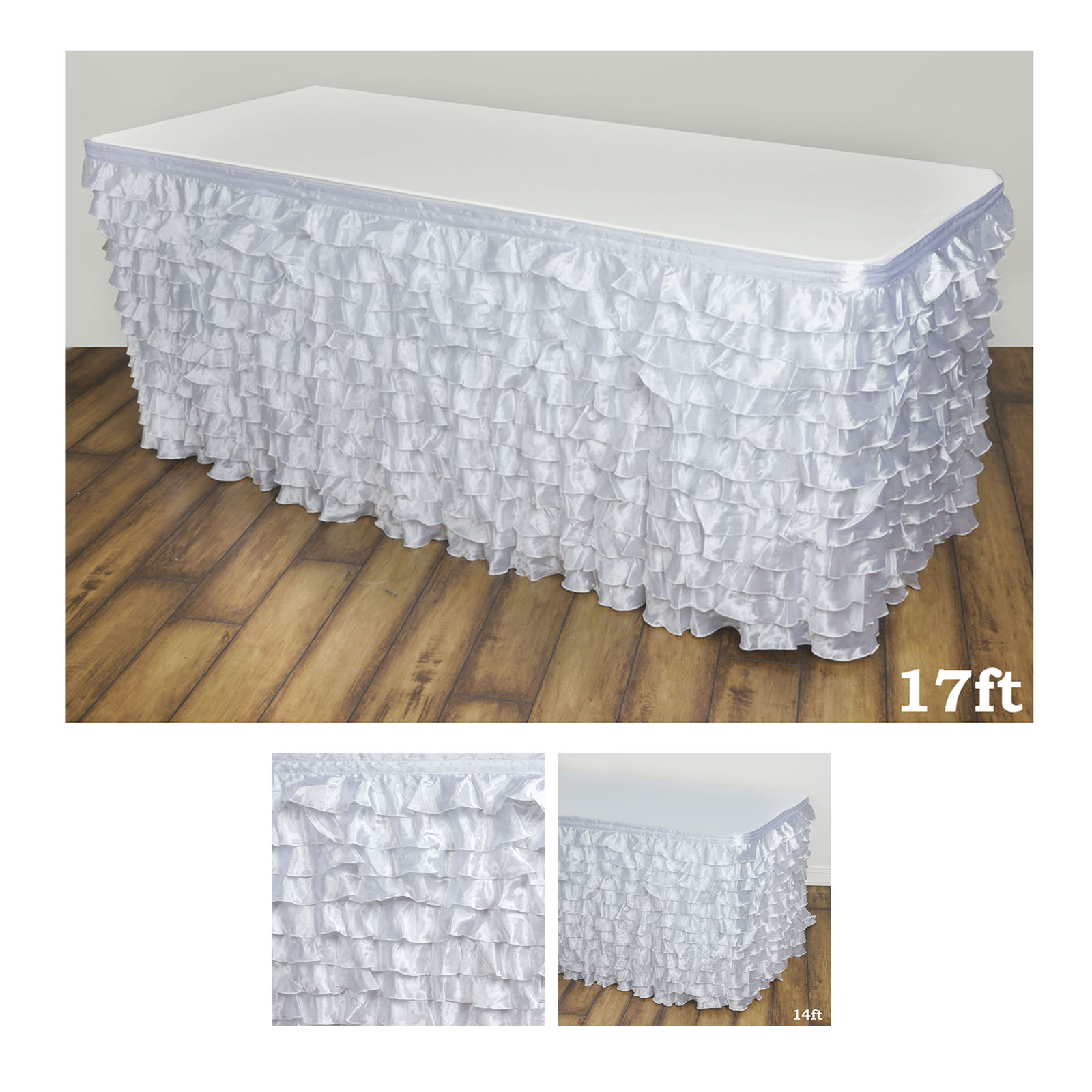 225 & Details about Flamenca Satin Ruffle Table Skirt Table Covers For Rectangle Or Round Tables