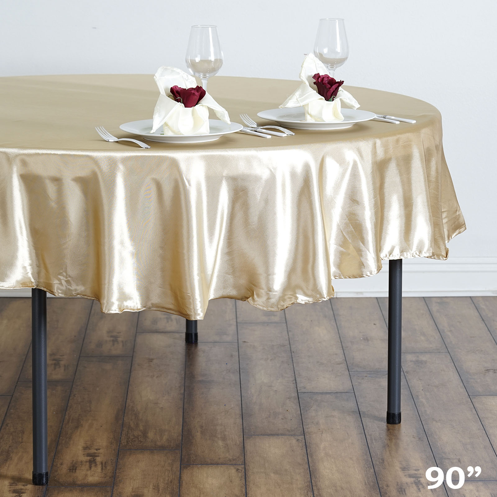 """90/"""" Round Satin Tablecloth For Wedding Party Banquet Events Decoration"""