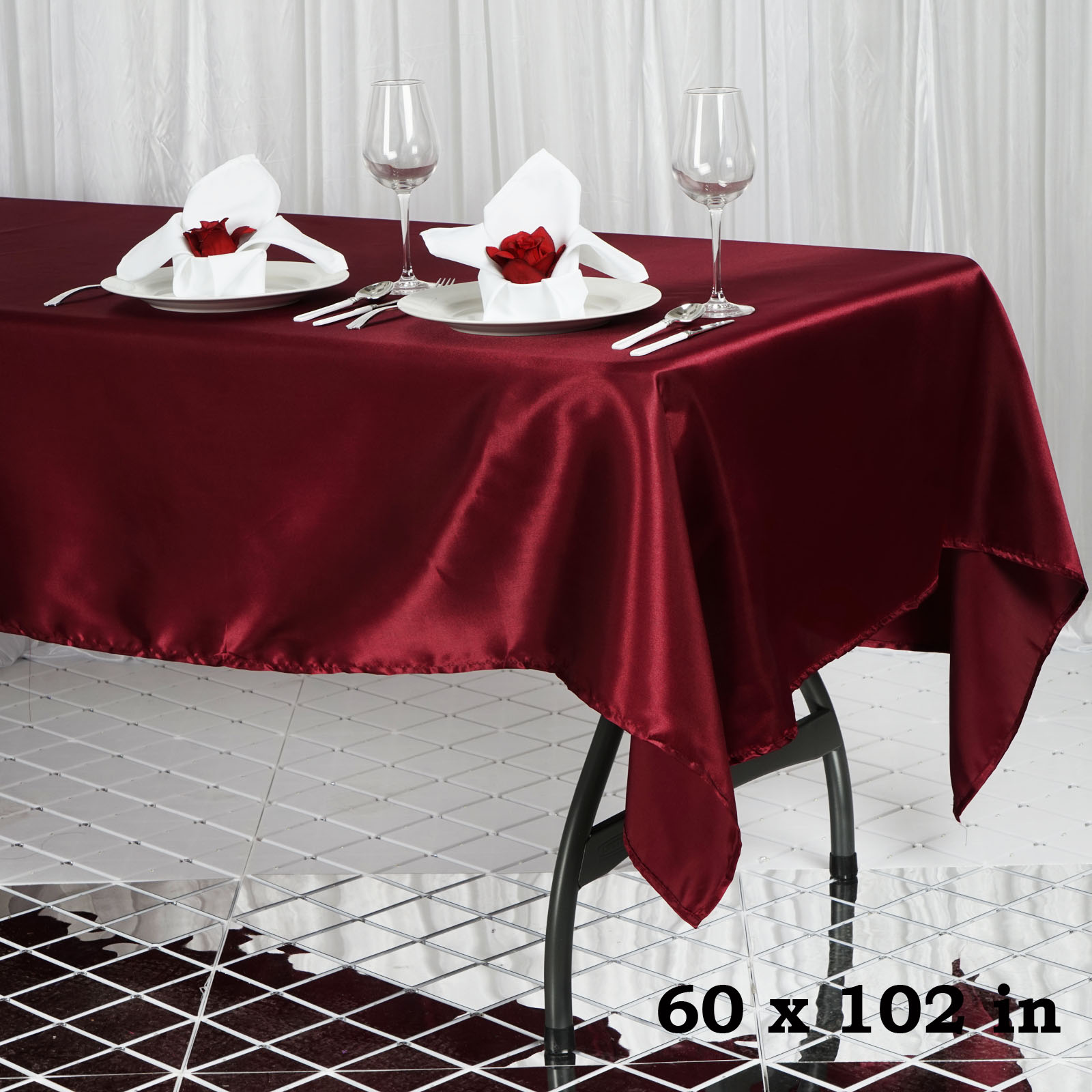 "60x102"" Rectangle Satin Tablecloth Wholesale SATIN Banquet ..."