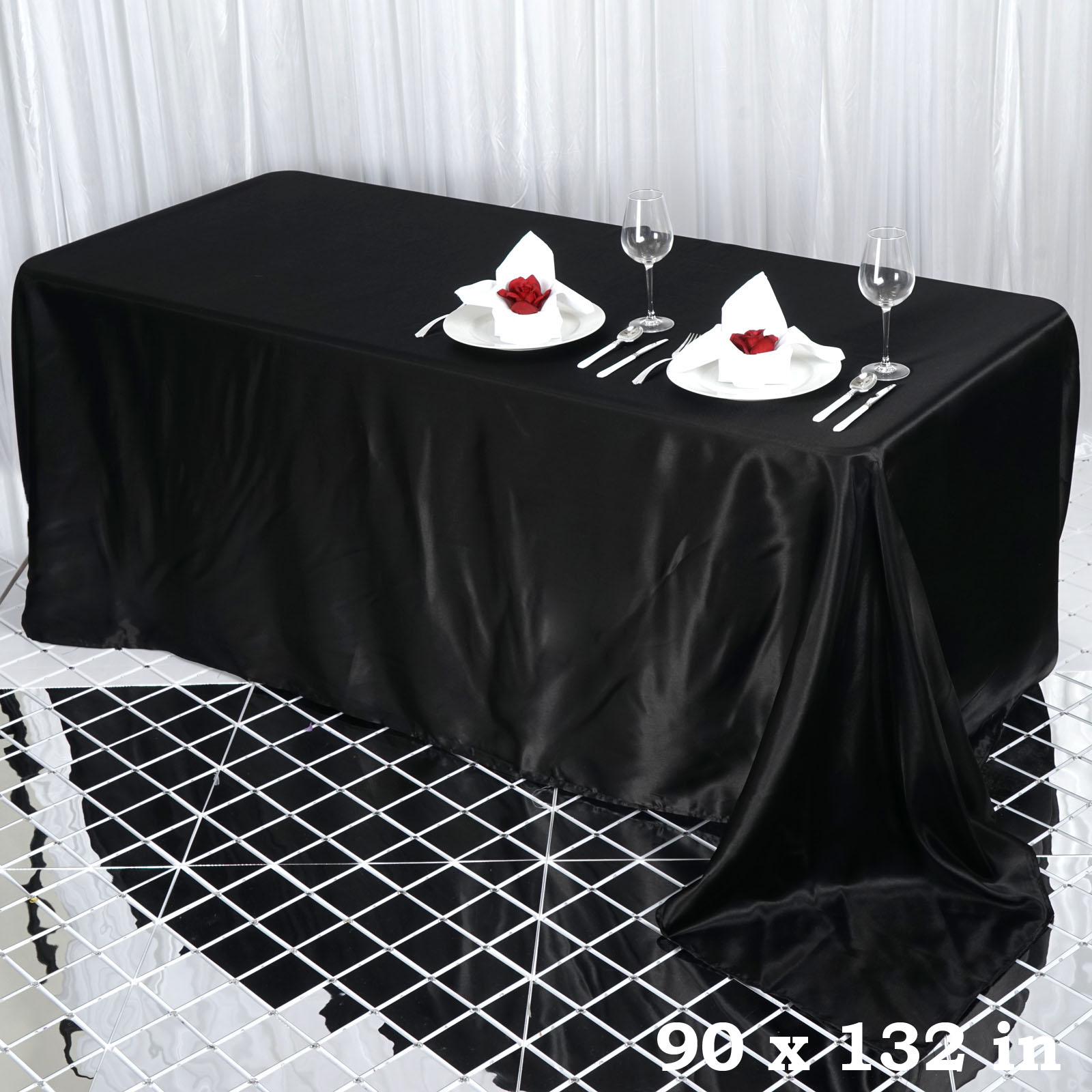 90x132-034-Rectangle-Satin-Tablecloth-For-Wedding-Party-Banquet-Events-Decoration thumbnail 3