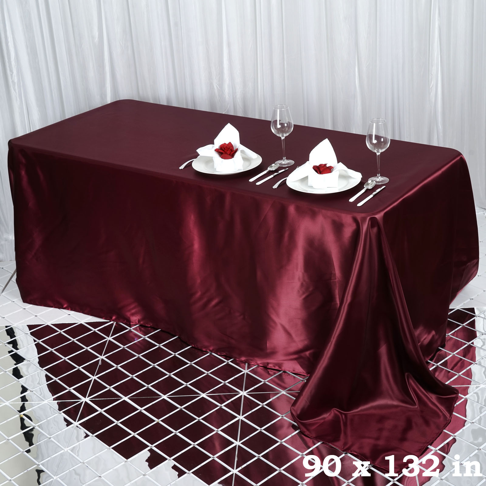 90x132-034-Rectangle-Satin-Tablecloth-For-Wedding-Party-Banquet-Events-Decoration thumbnail 11