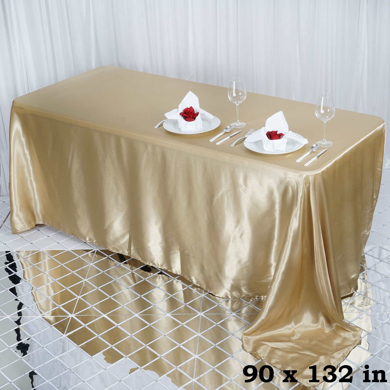 90x132-034-Rectangle-Satin-Tablecloth-For-Wedding-Party-Banquet-Events-Decoration thumbnail 16