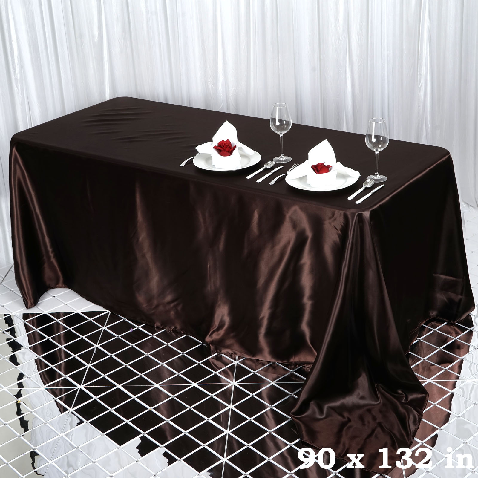 90x132-034-Rectangle-Satin-Tablecloth-For-Wedding-Party-Banquet-Events-Decoration thumbnail 21