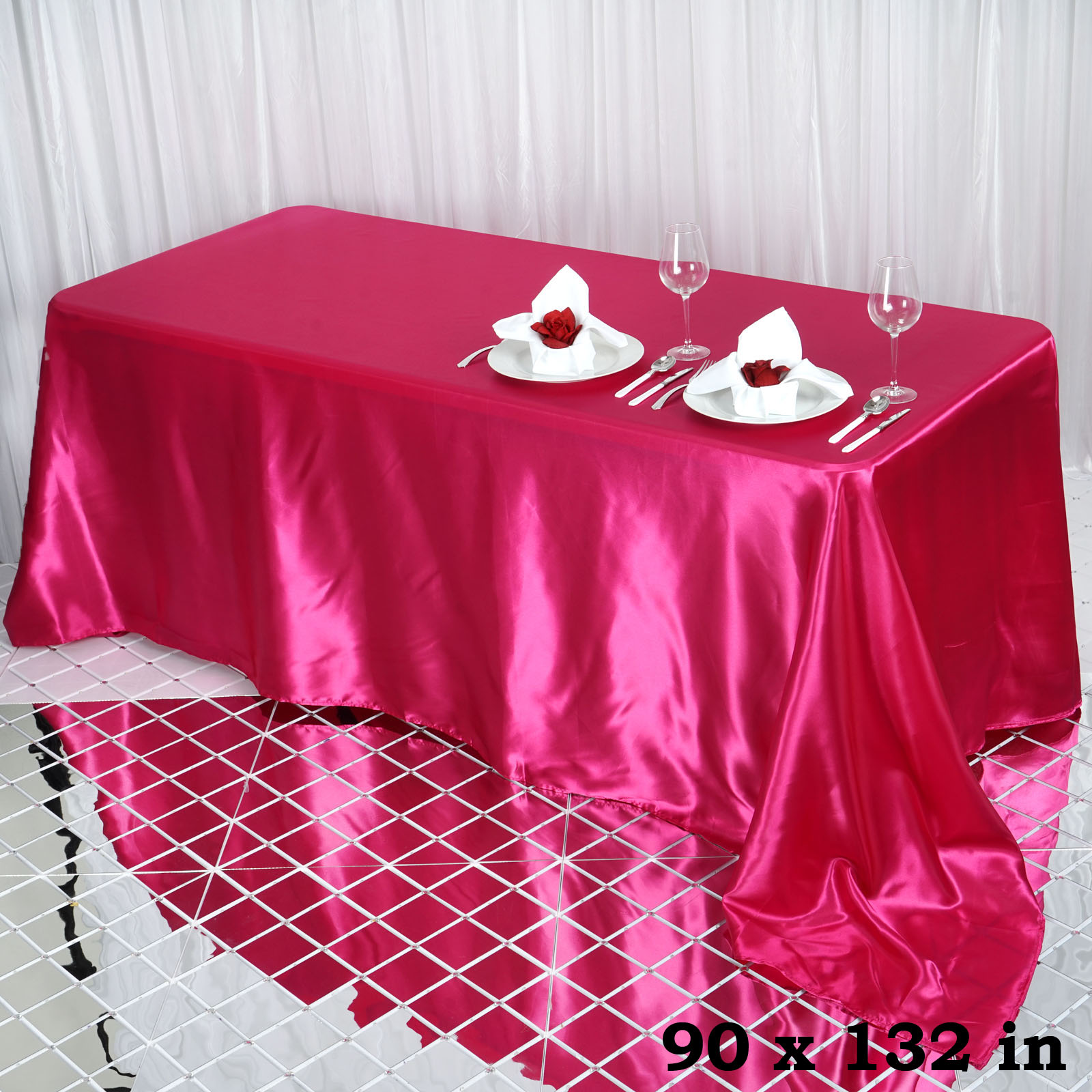 90x132-034-Rectangle-Satin-Tablecloth-For-Wedding-Party-Banquet-Events-Decoration thumbnail 35