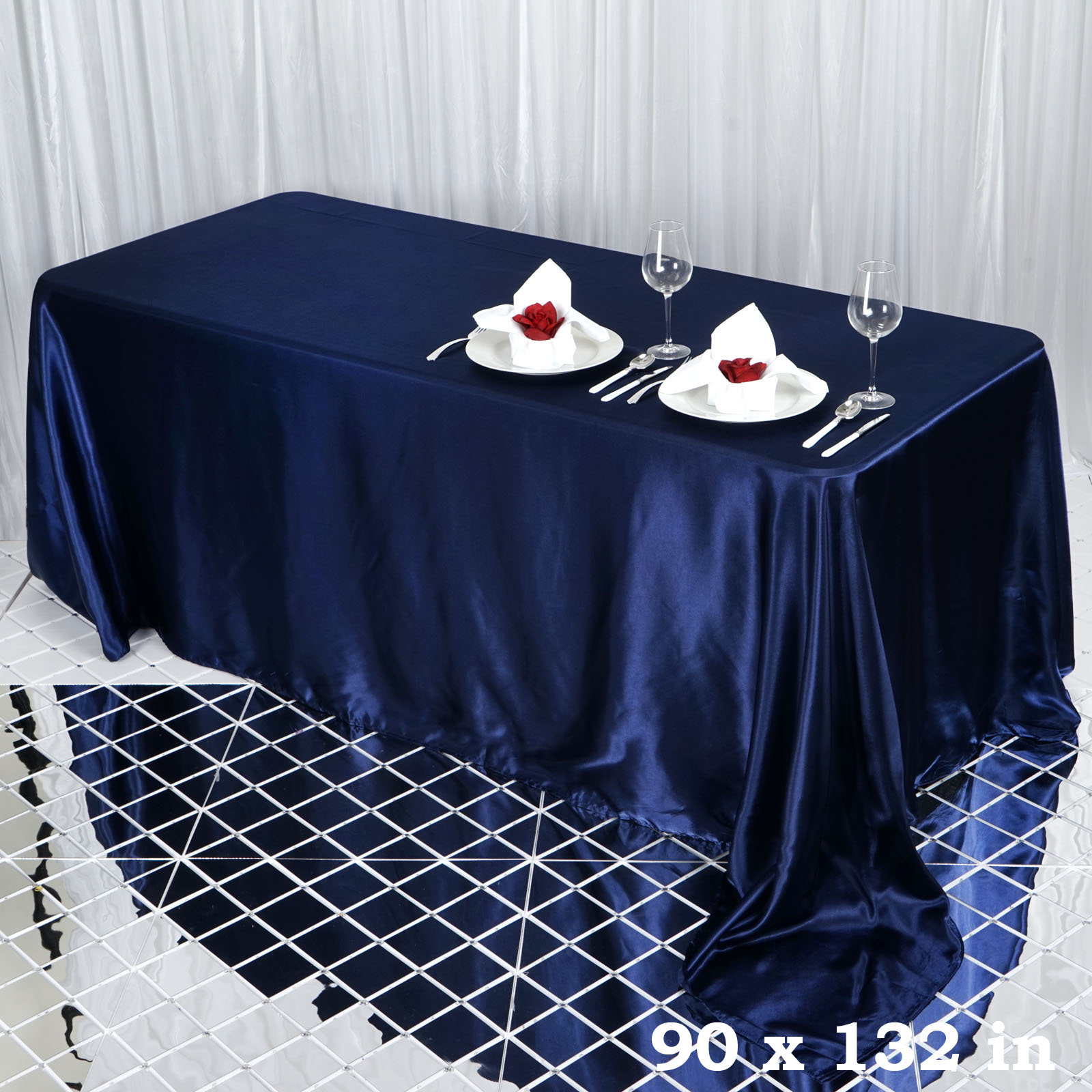 90x132-034-Rectangle-Satin-Tablecloth-For-Wedding-Party-Banquet-Events-Decoration thumbnail 53