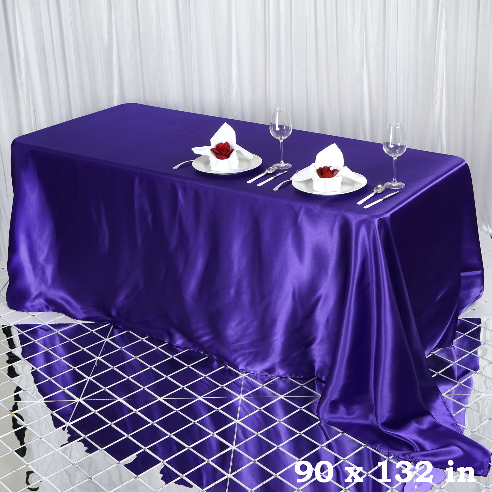 90x132-034-Rectangle-Satin-Tablecloth-For-Wedding-Party-Banquet-Events-Decoration thumbnail 58