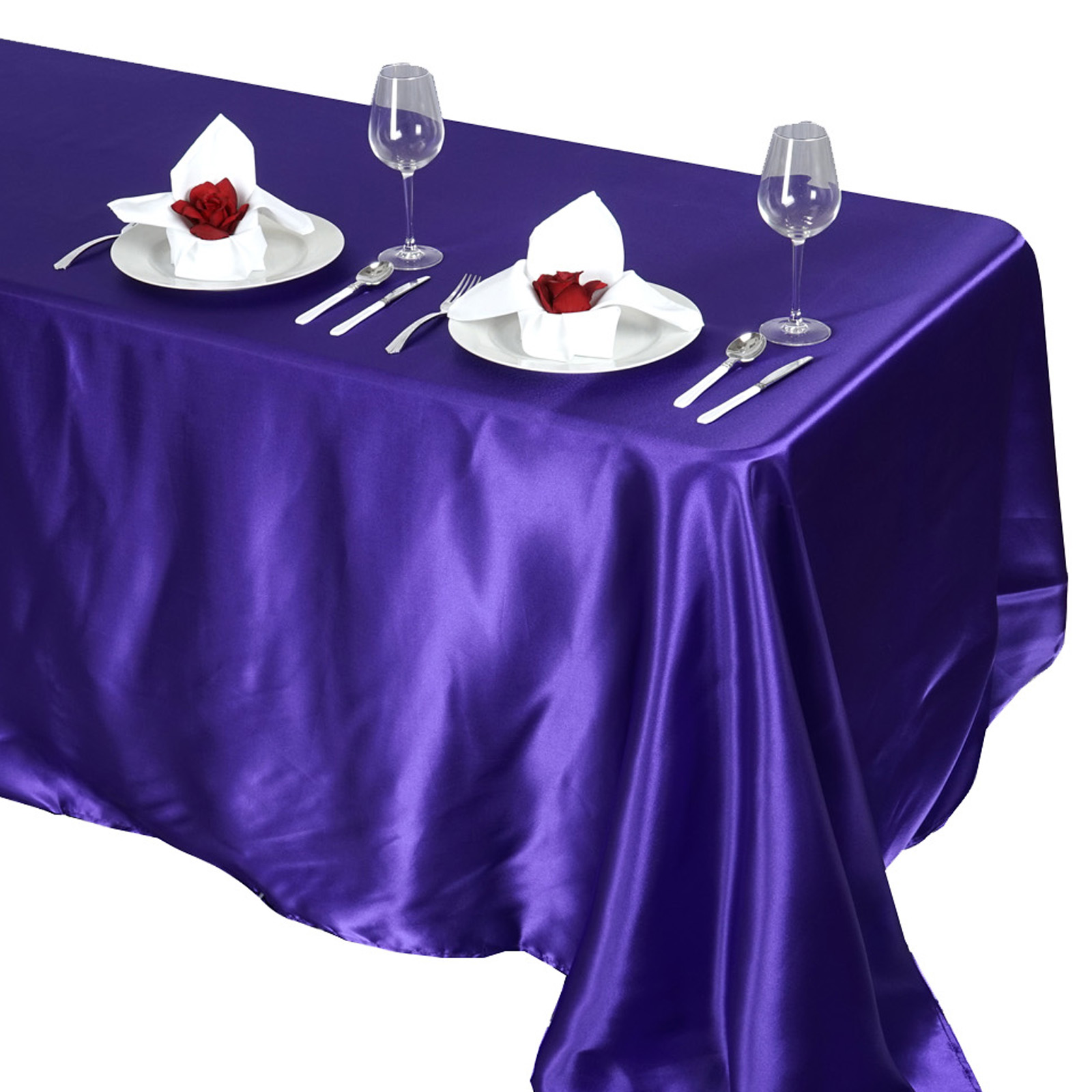 90x132-034-Rectangle-Satin-Tablecloth-For-Wedding-Party-Banquet-Events-Decoration thumbnail 60