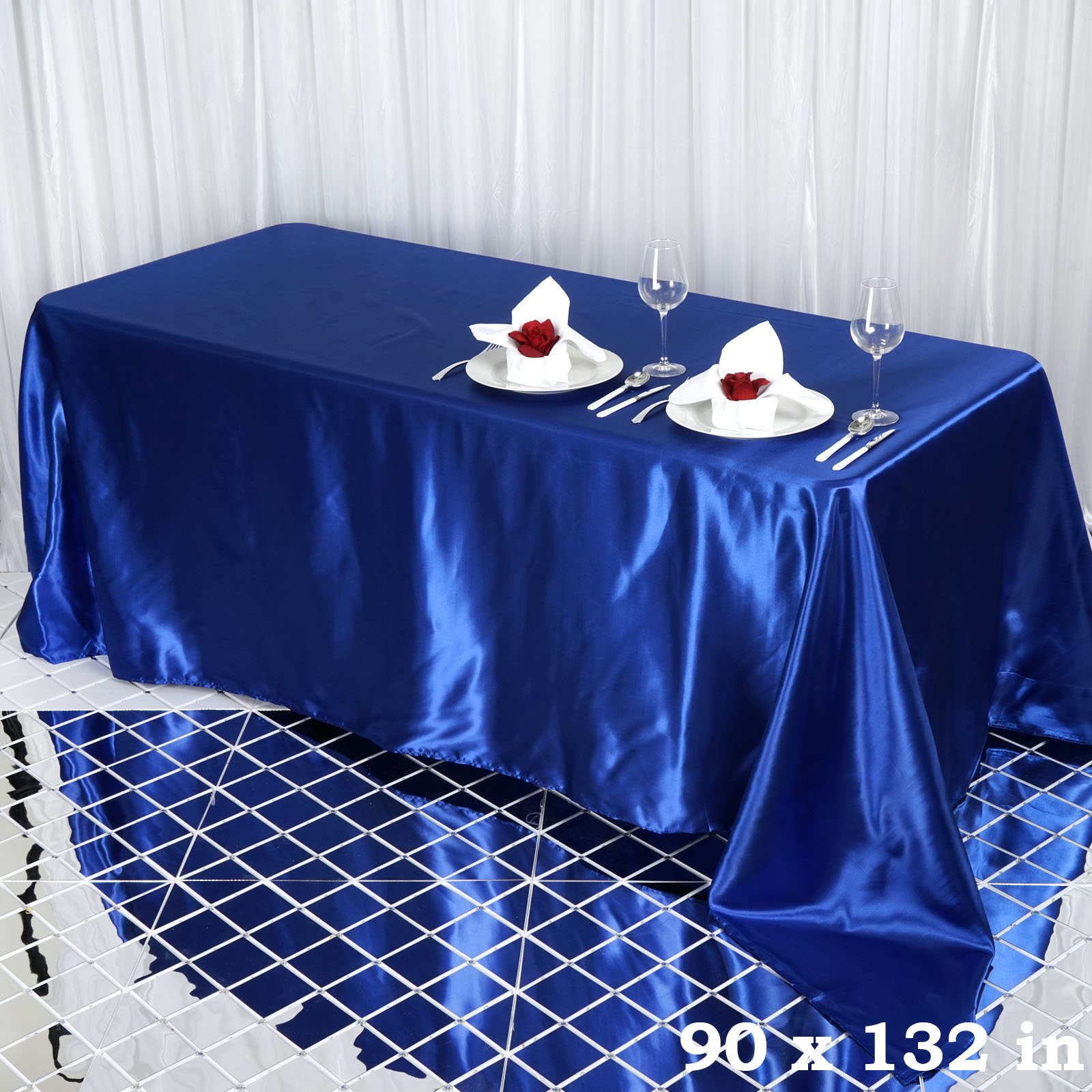 90x132-034-Rectangle-Satin-Tablecloth-For-Wedding-Party-Banquet-Events-Decoration thumbnail 71