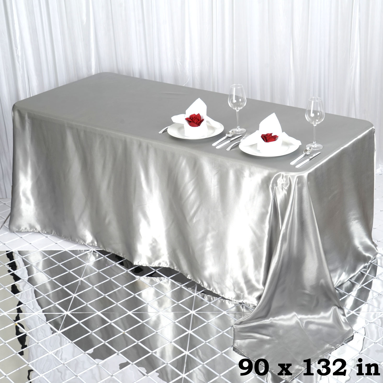 90x132-034-Rectangle-Satin-Tablecloth-For-Wedding-Party-Banquet-Events-Decoration thumbnail 76