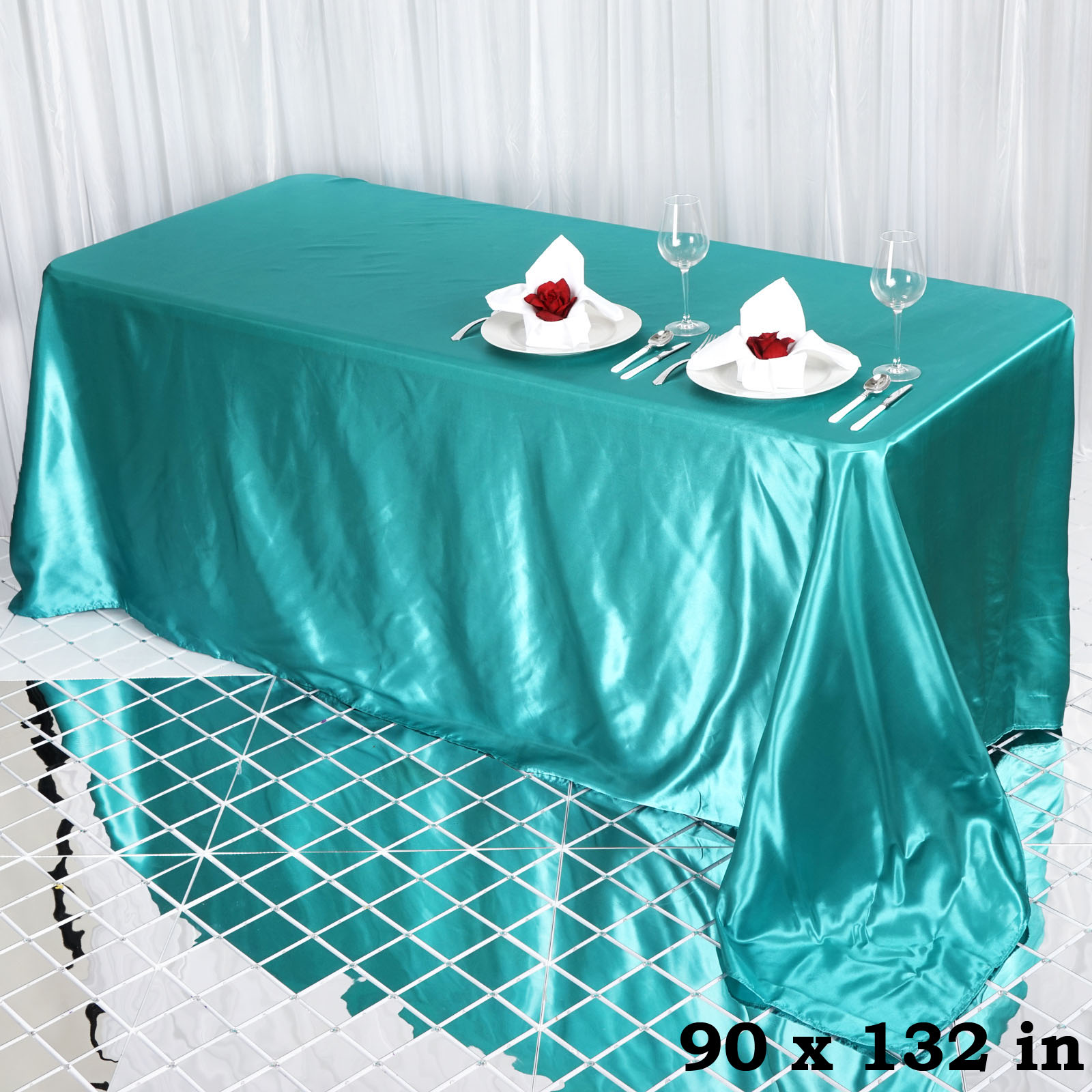 90x132-034-Rectangle-Satin-Tablecloth-For-Wedding-Party-Banquet-Events-Decoration thumbnail 81