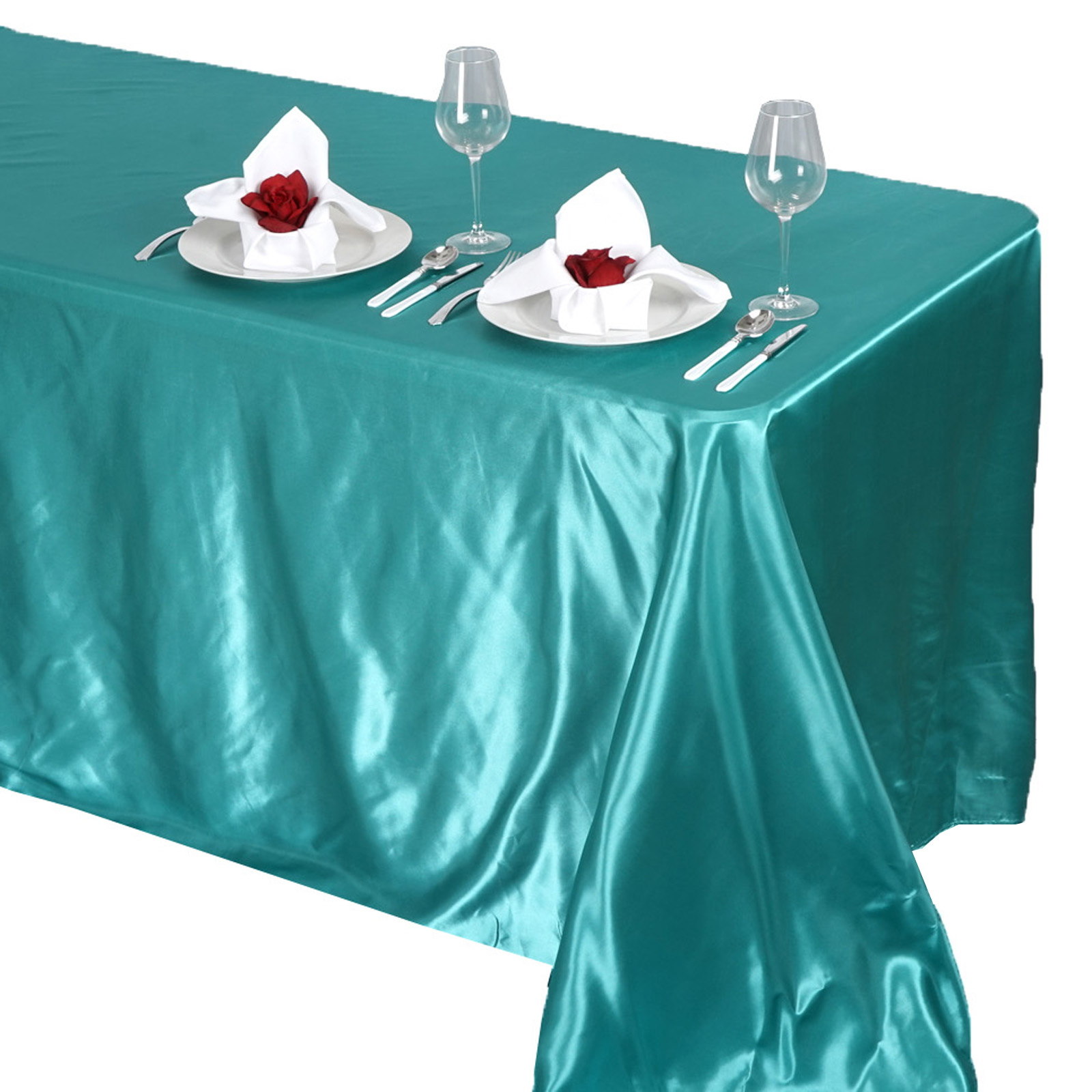 90x132-034-Rectangle-Satin-Tablecloth-For-Wedding-Party-Banquet-Events-Decoration thumbnail 83