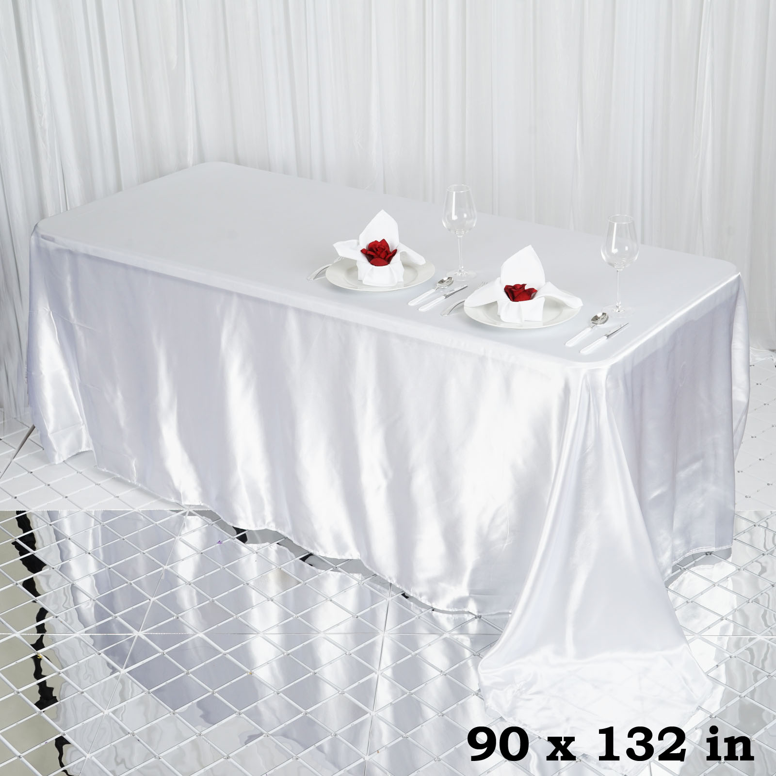90x132-034-Rectangle-Satin-Tablecloth-For-Wedding-Party-Banquet-Events-Decoration thumbnail 86