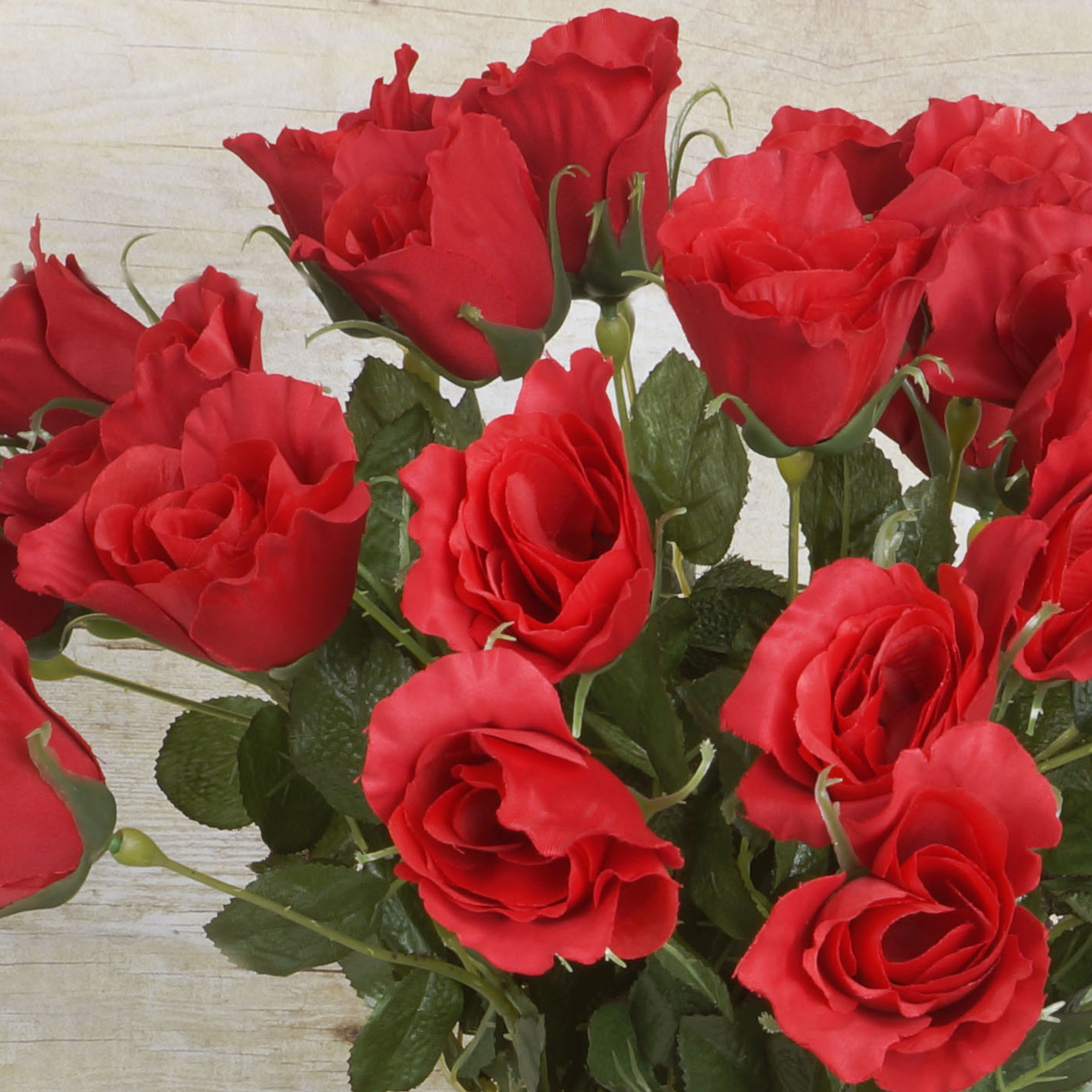 48 Red Long Single Stem Roses Bundle Silk Wedding Flowers Bouquets