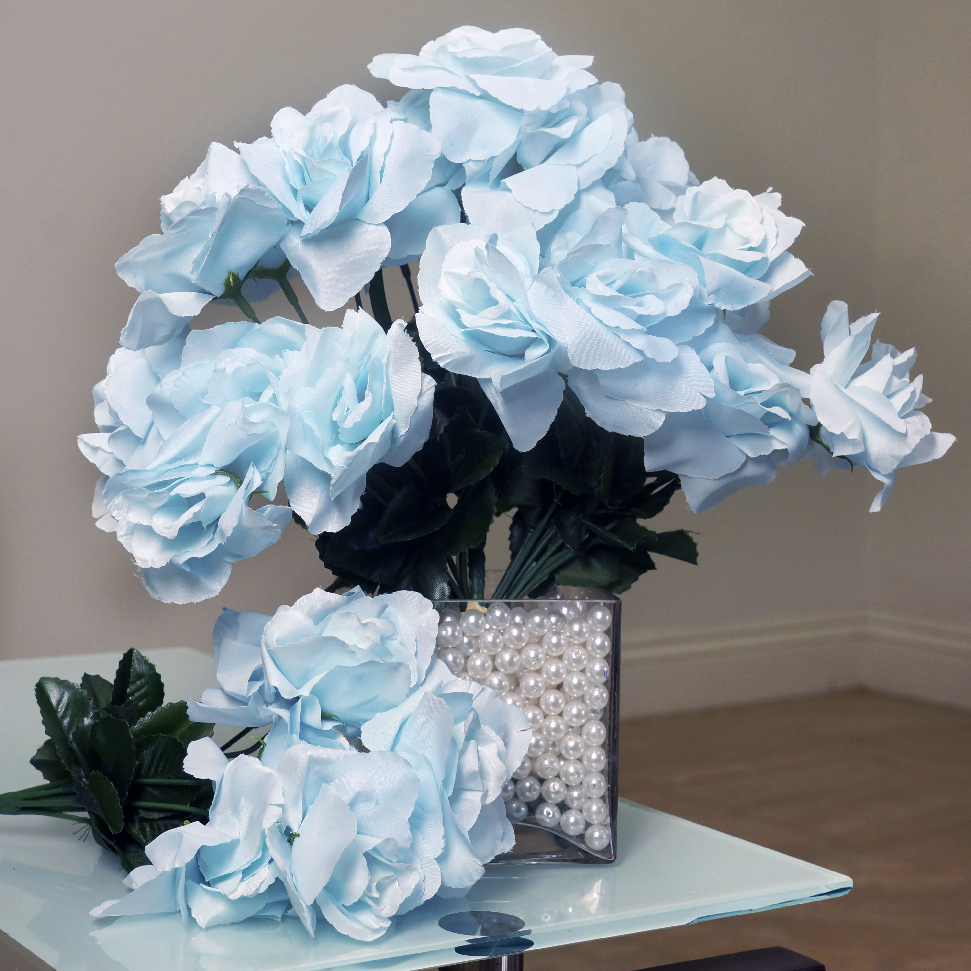 84 Light Baby Blue Silk Open Roses Wedding Flowers Bouquets For