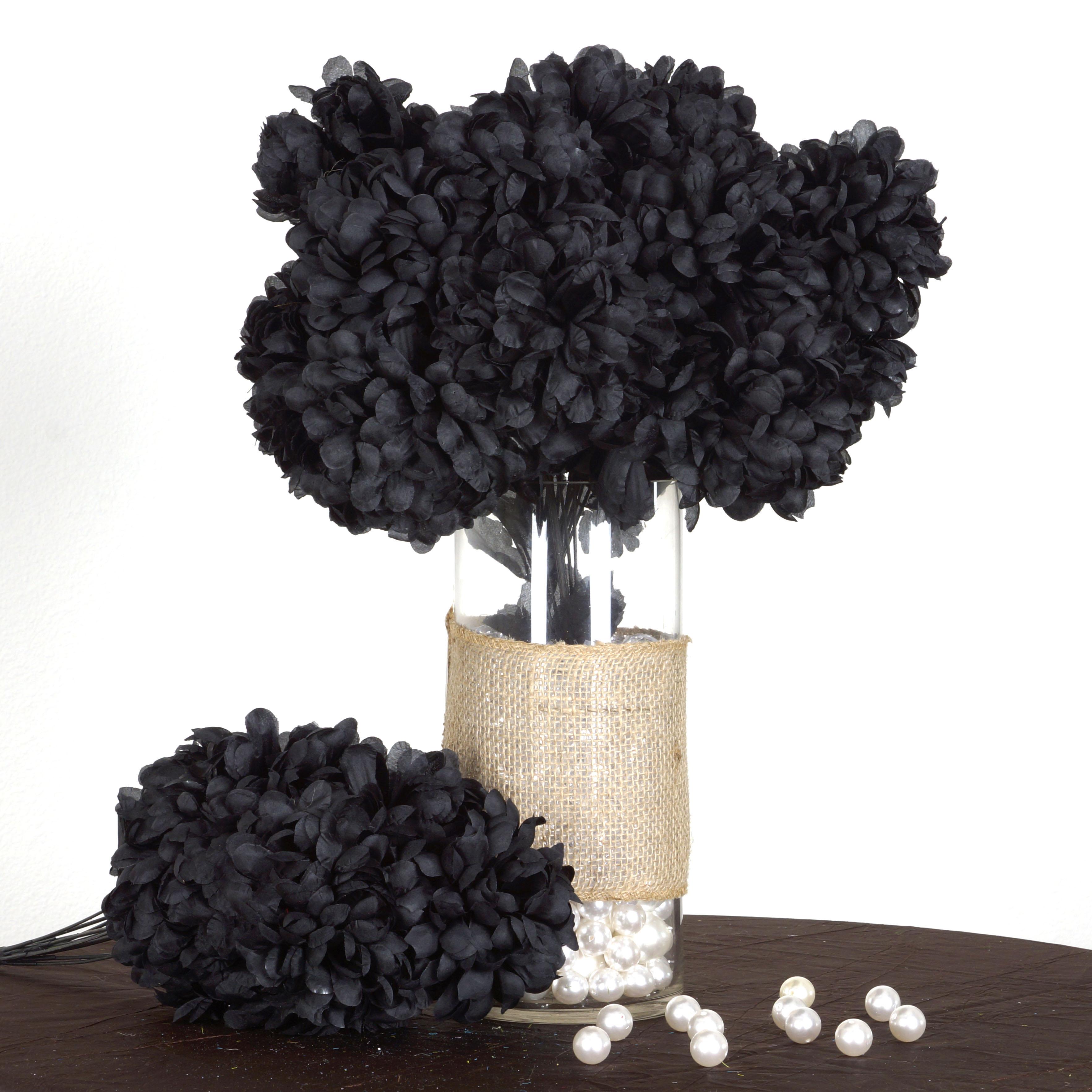 4 Black Large Silk Chrysanthemums Mums Bushes Wedding Flowers