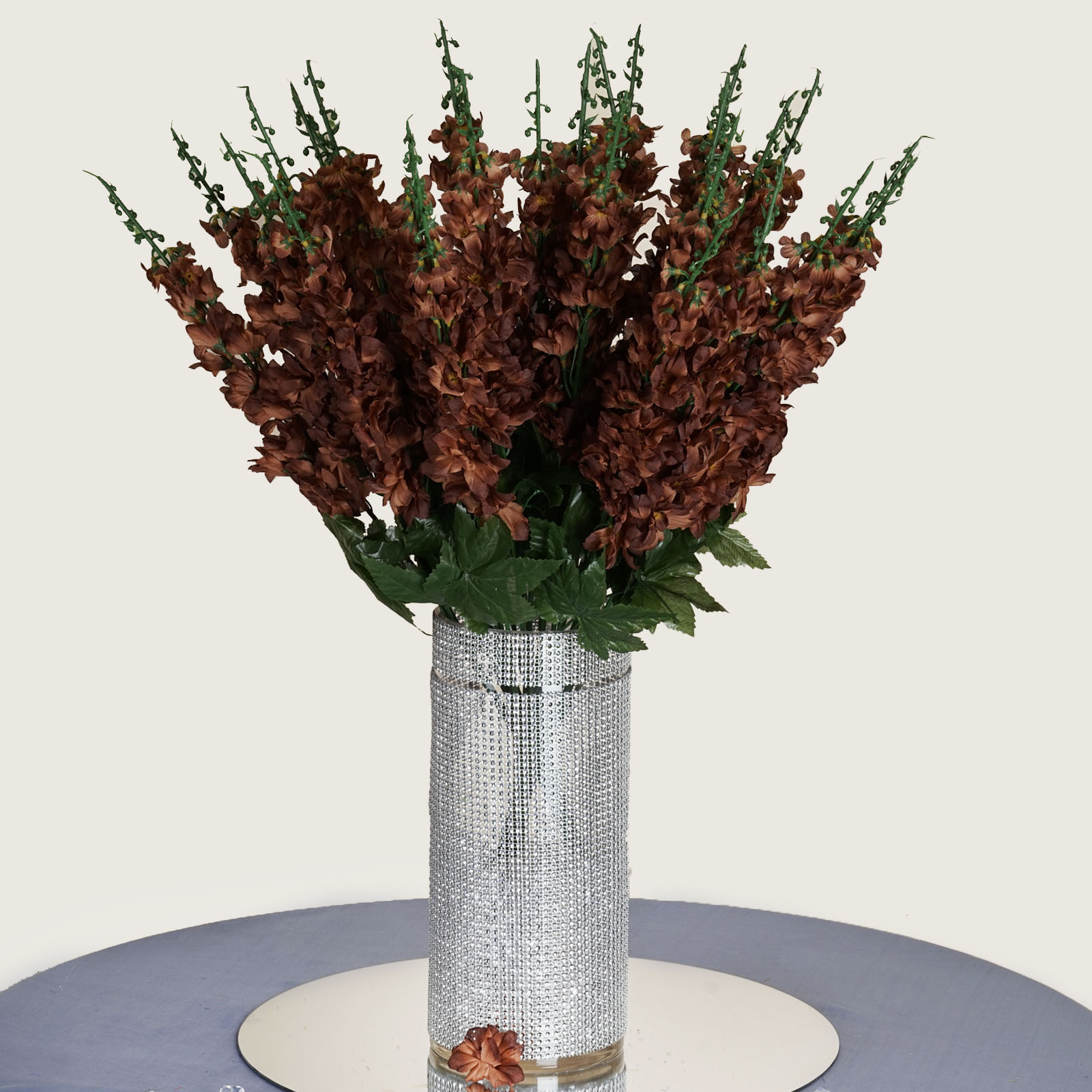 18 To 27 Chocolate Brown Delphinium Stems Filler Silk Wedding