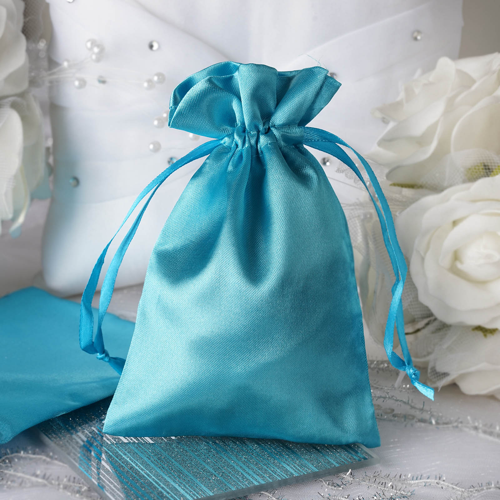 "Wedding Favor Gift Bags: 60 Pcs 4x5"" SATIN FAVOR BAGS Wedding Party Reception Gift"