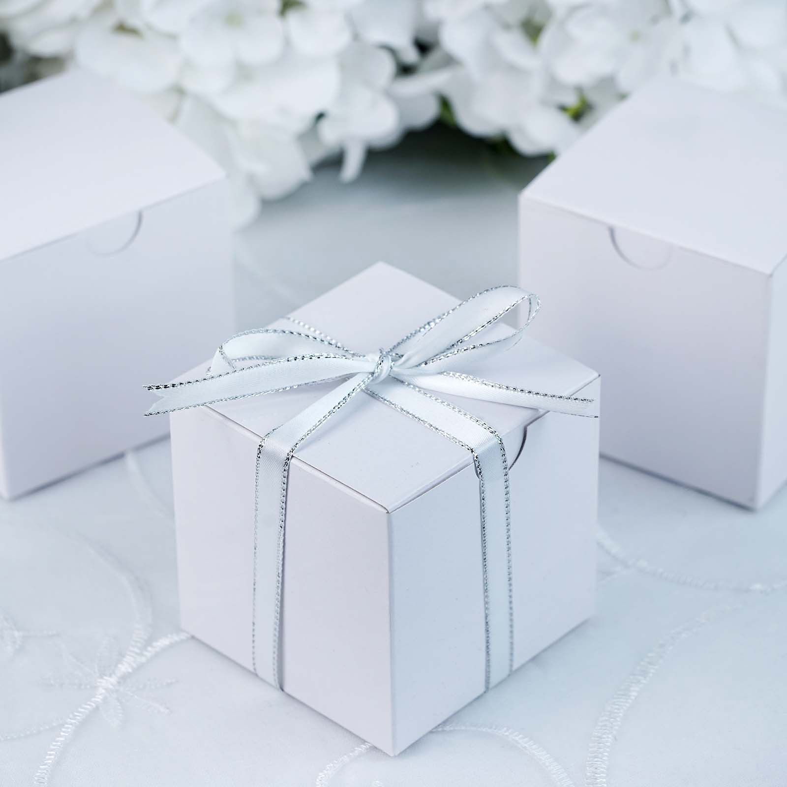 100 Pcs White Favor Boxes 3x3 Wedding Party Home Decorations Gift