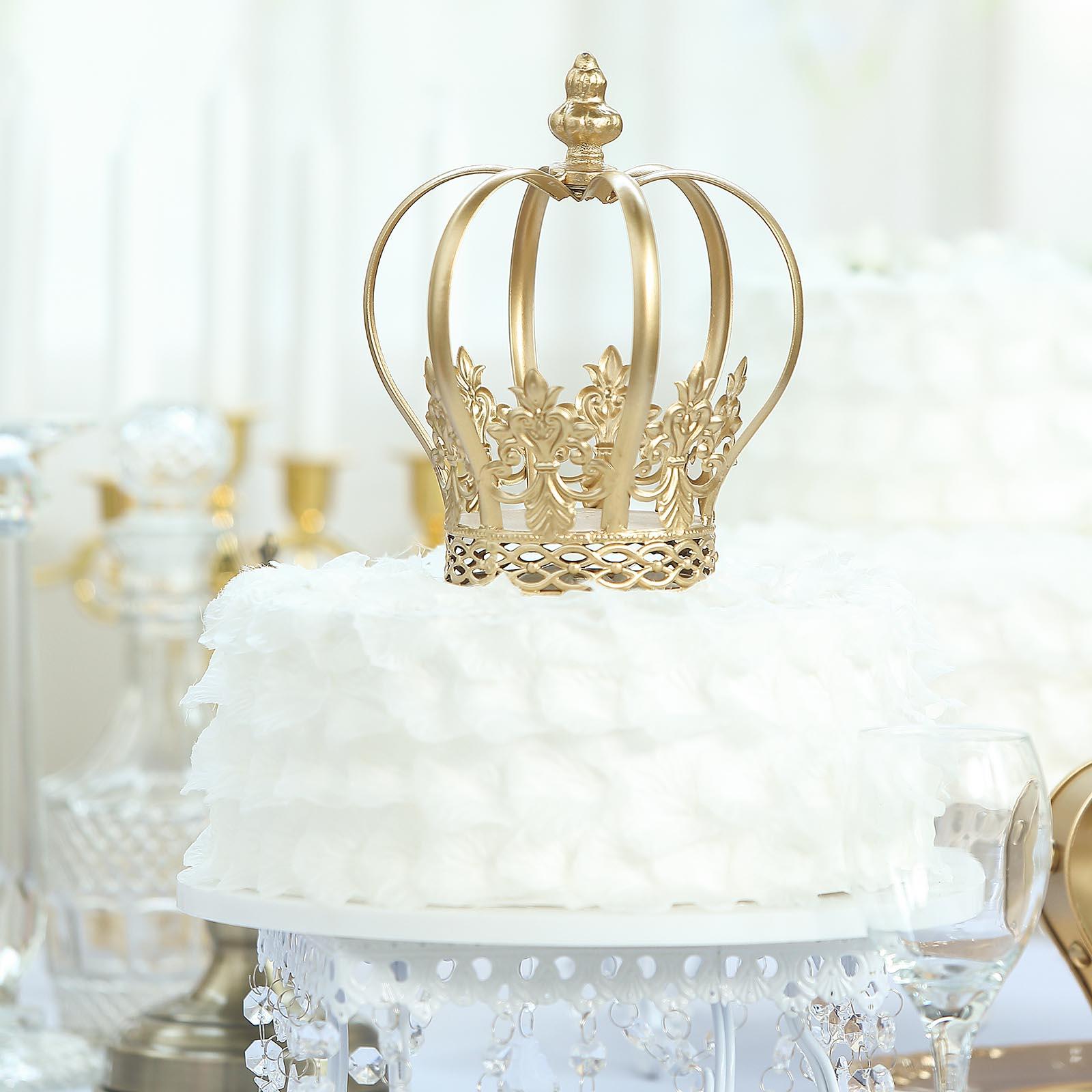 "GOLD 9/"" tall Metal Crown Cake Topper Cupcake Event Centerpiece Dessert Events"