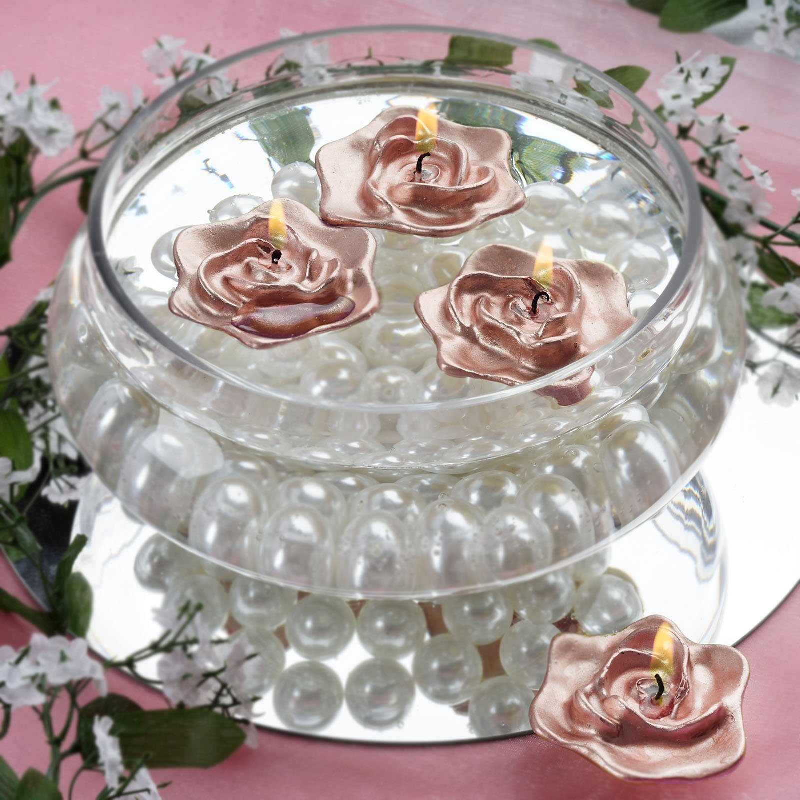 Floating Rose Centerpiece: 12 Wedding Roses Flowers Floating Candles Party Event