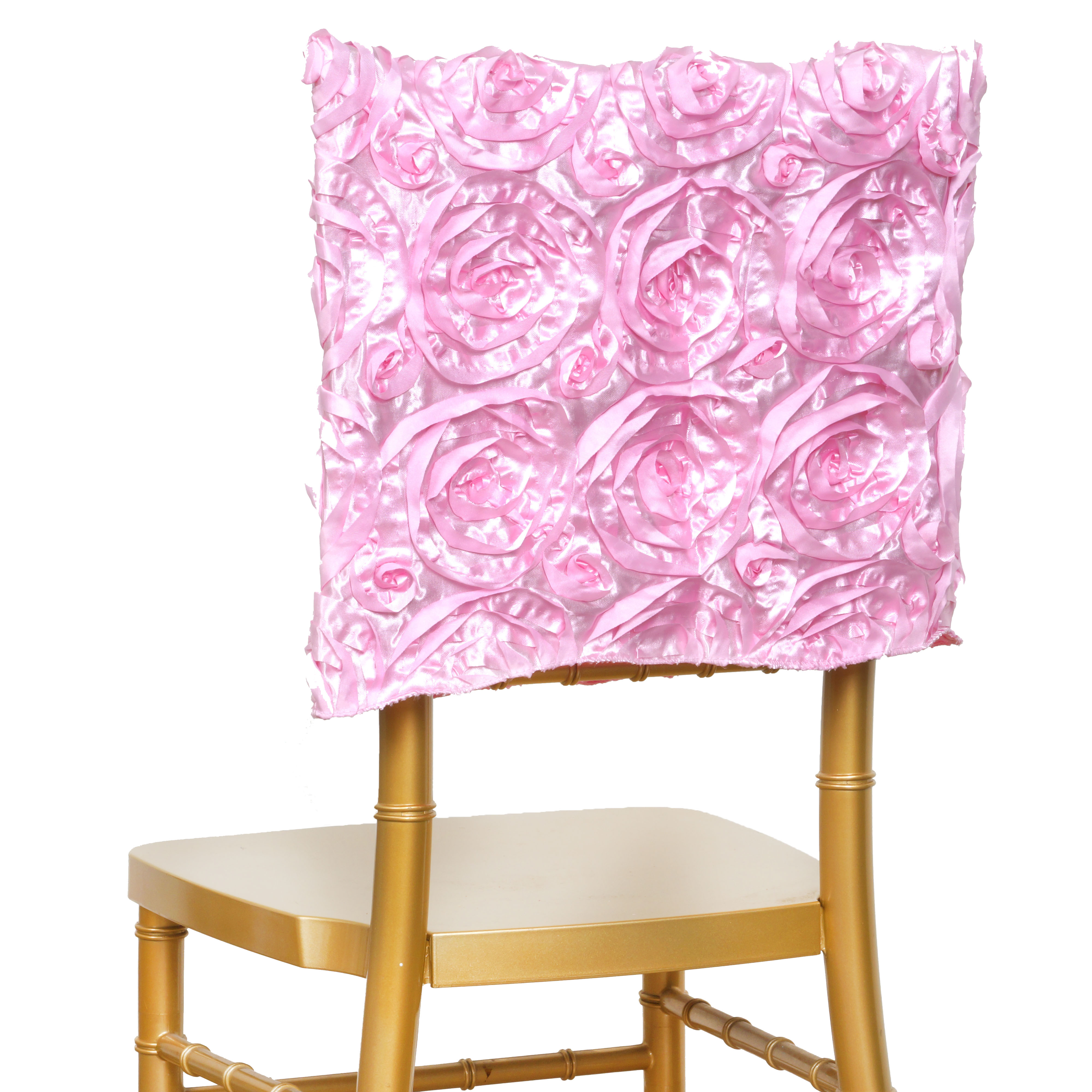 6 Pcs Chair Covers Square Top Caps With Ribbon Roses Party