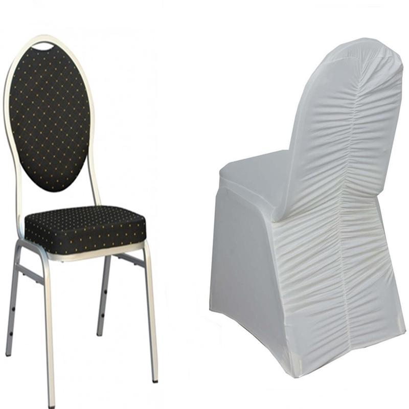 100 Pcs Ruched Spandex Banquet Chair Covers Wedding